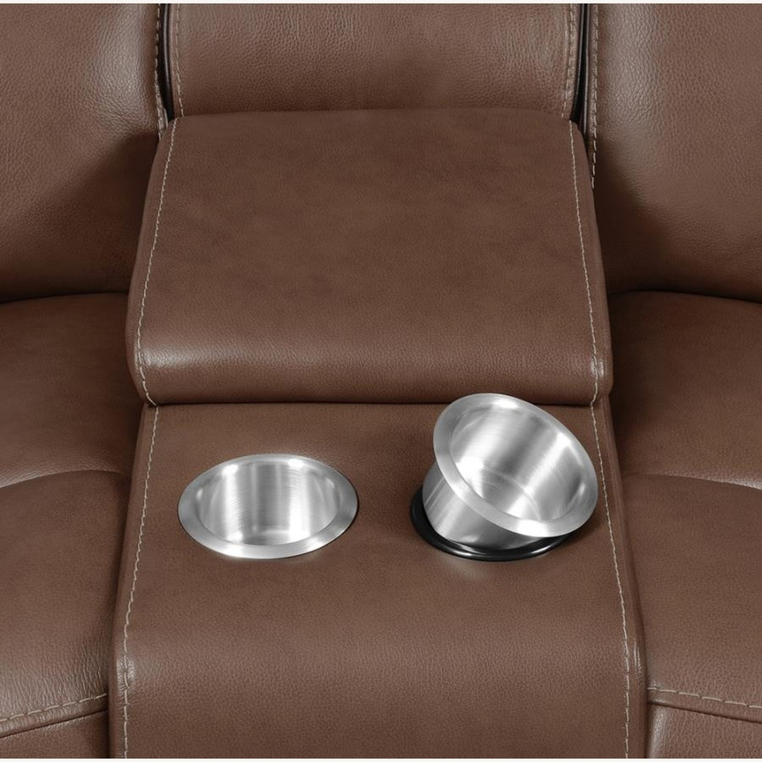 Power Loveseat In Saddle Brown W/ Reclining Seats - image-5