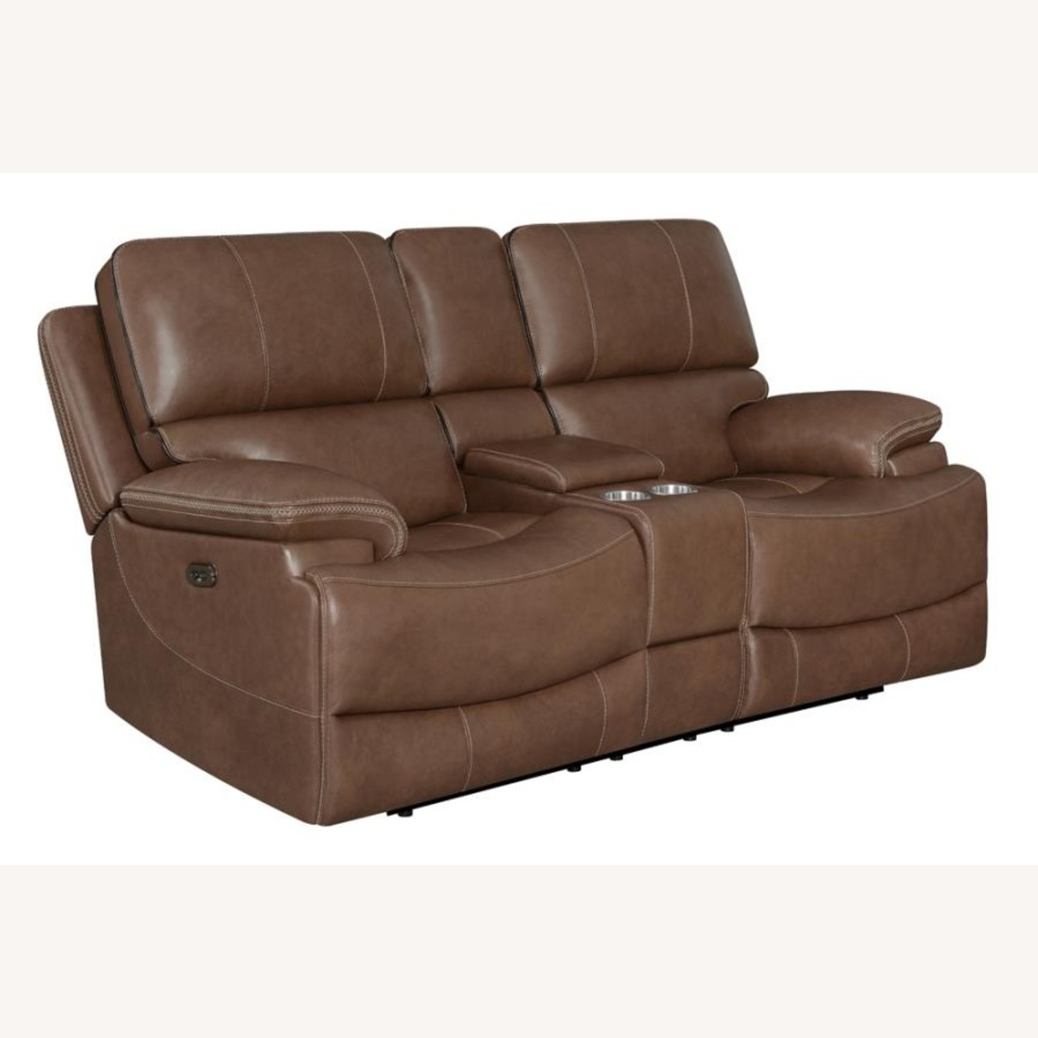 Power Loveseat In Saddle Brown W/ Reclining Seats - image-0