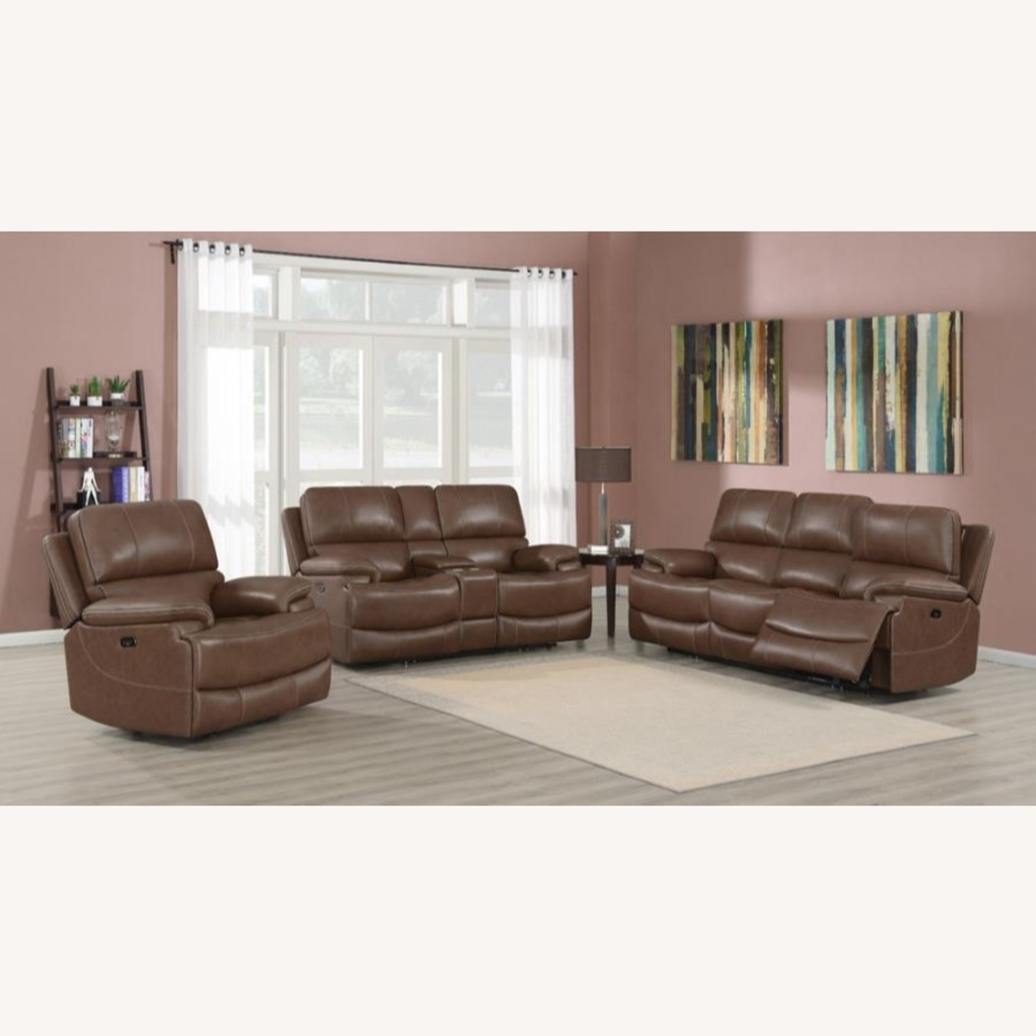 Power Loveseat In Saddle Brown W/ Reclining Seats - image-6