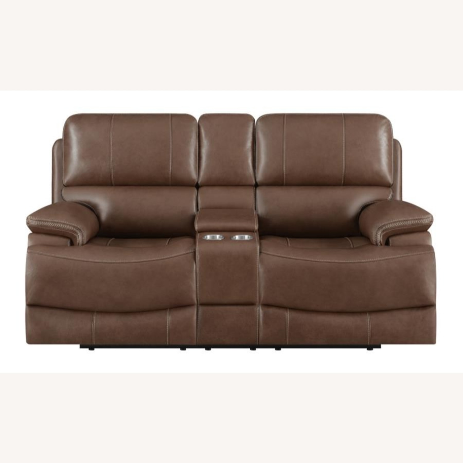 Power Loveseat In Saddle Brown W/ Reclining Seats - image-1