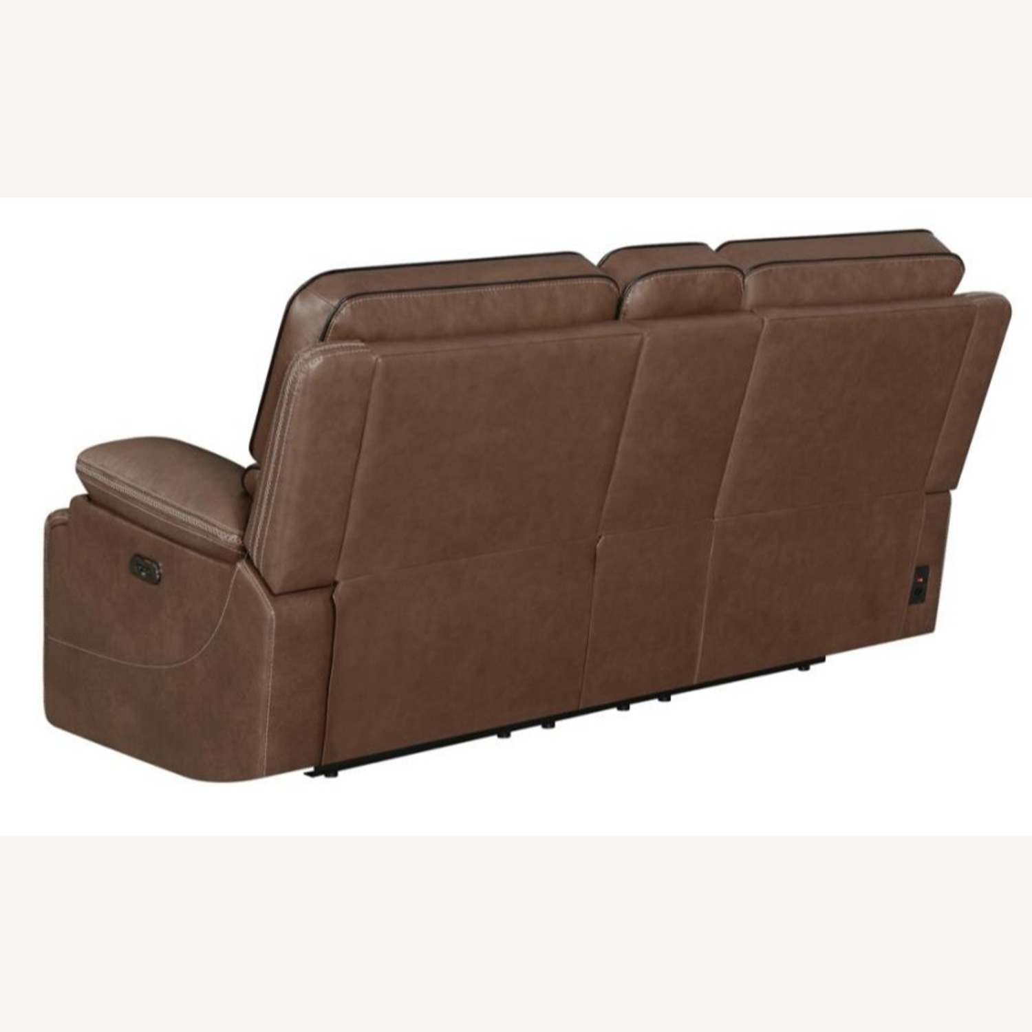 Power Loveseat In Saddle Brown W/ Reclining Seats - image-3