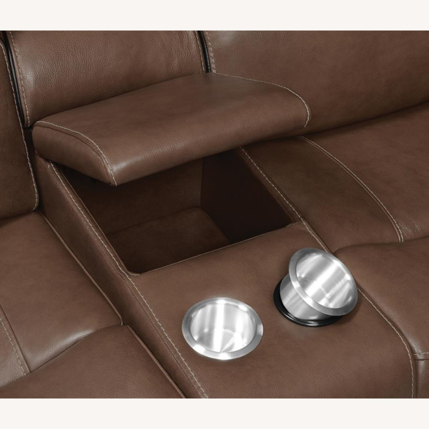 Power Loveseat In Saddle Brown W/ Reclining Seats - image-4