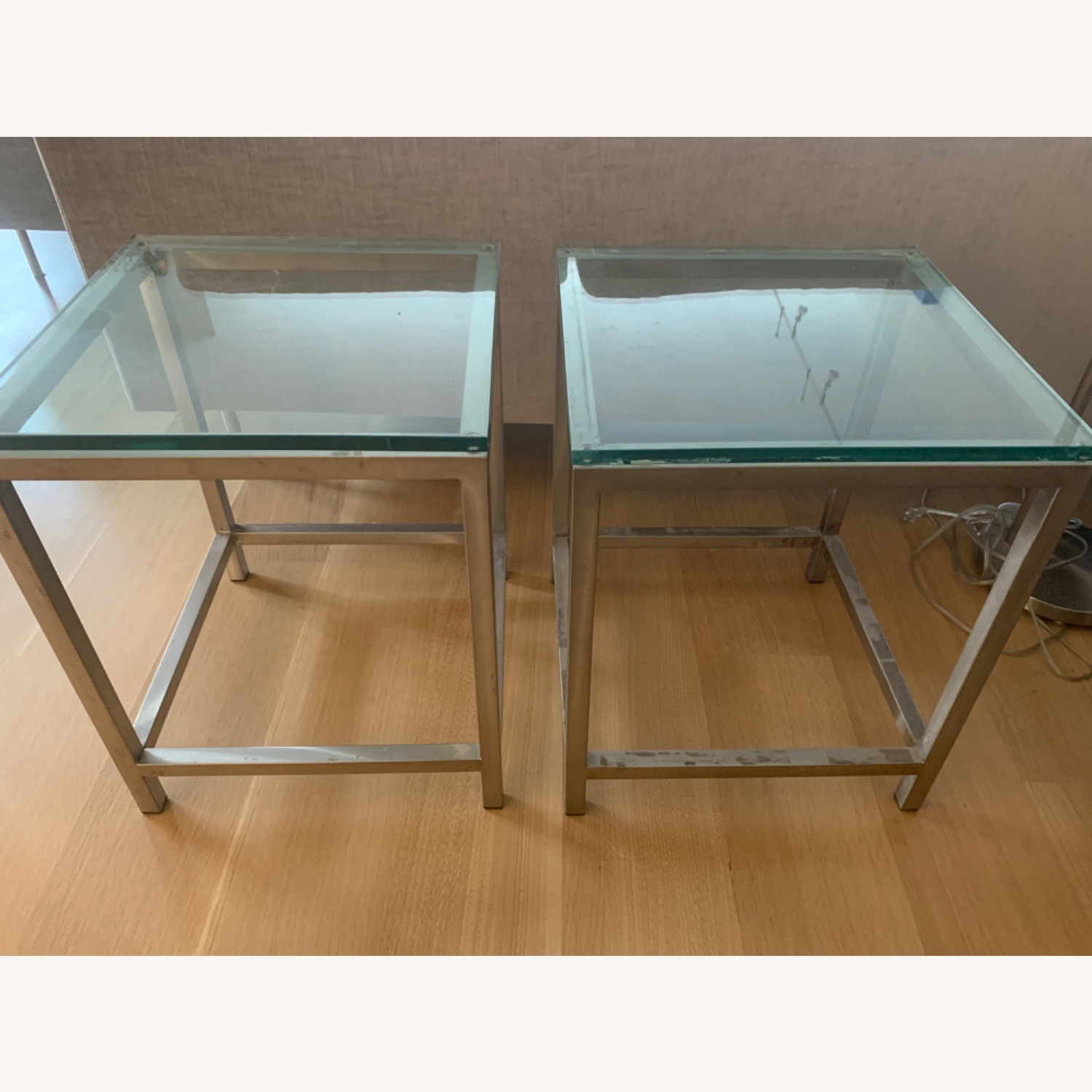 Crate & Barrel Glass-top Chrome Side Tables - image-1
