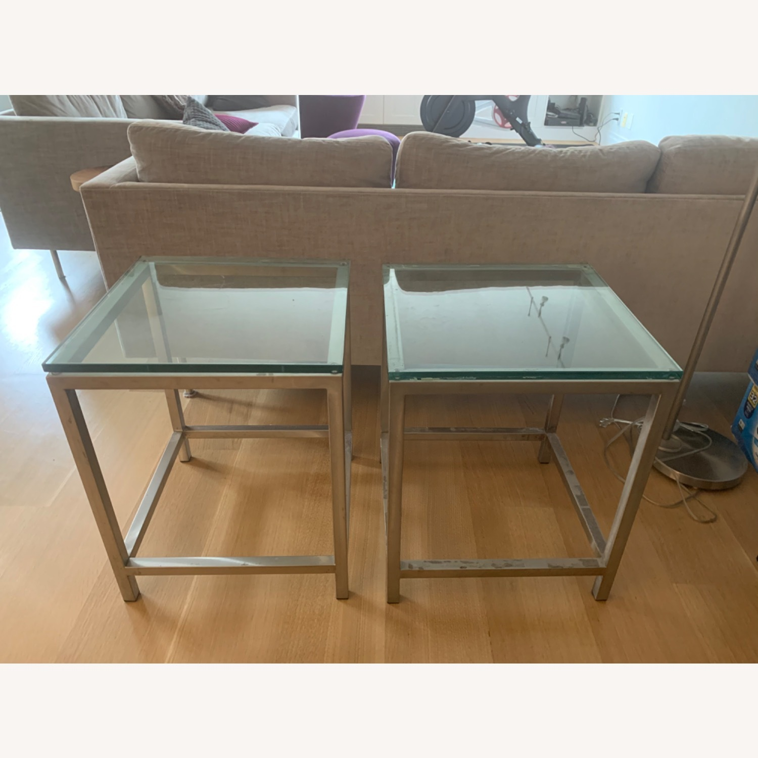 Crate & Barrel Glass-top Chrome Side Tables - image-5