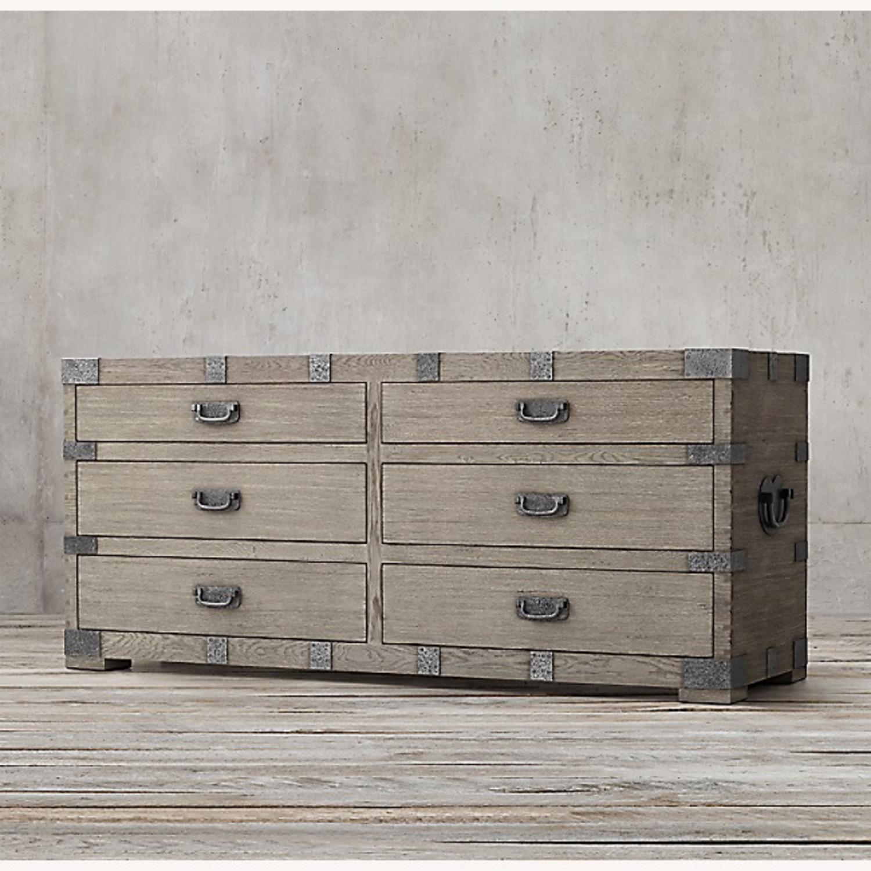 Restoration Hardware 6 Drawer Grey Wood Dresser - image-1