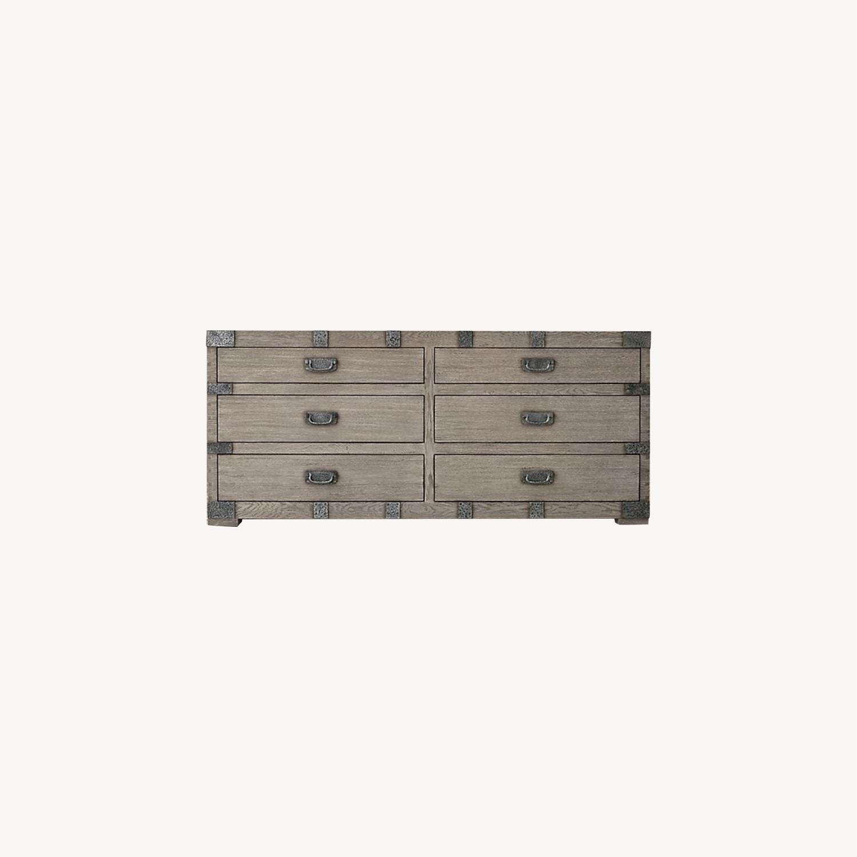 Restoration Hardware 6 Drawer Grey Wood Dresser - image-0