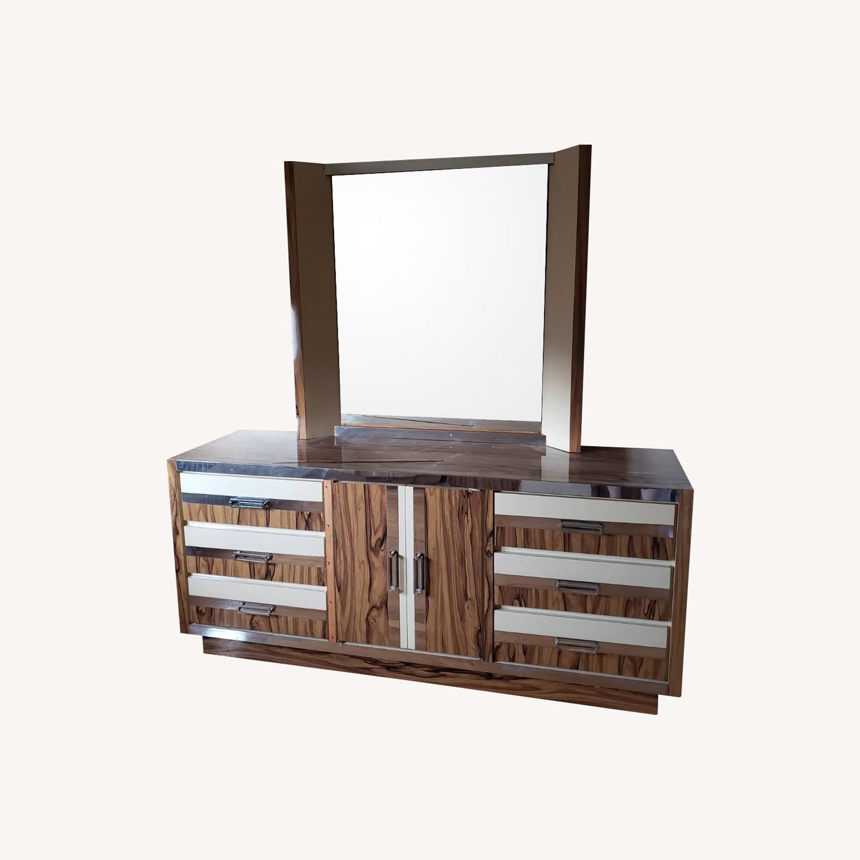 Italian Formica Bedroom set- Credenza with Mirror - image-0