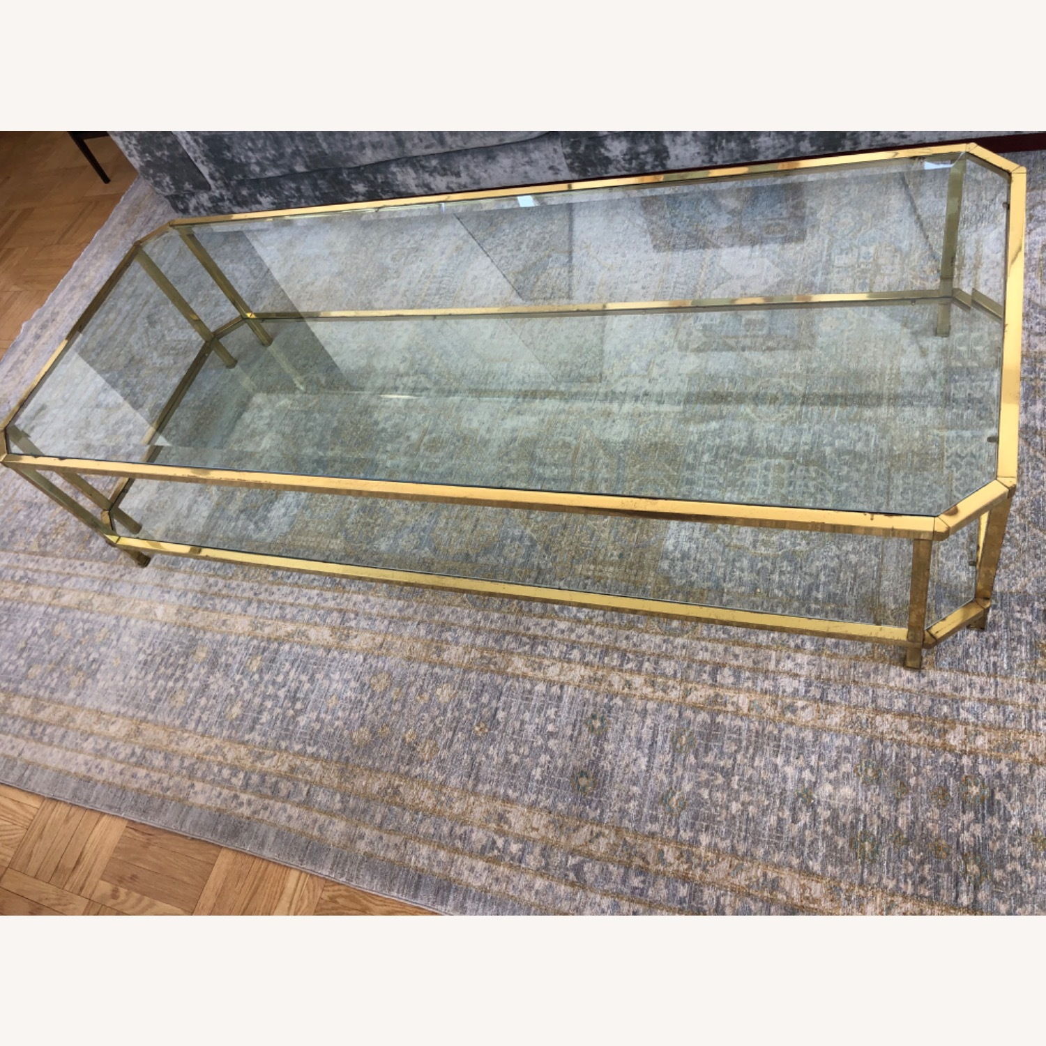 French 1960s Brass & Glass Coffee Table - image-1