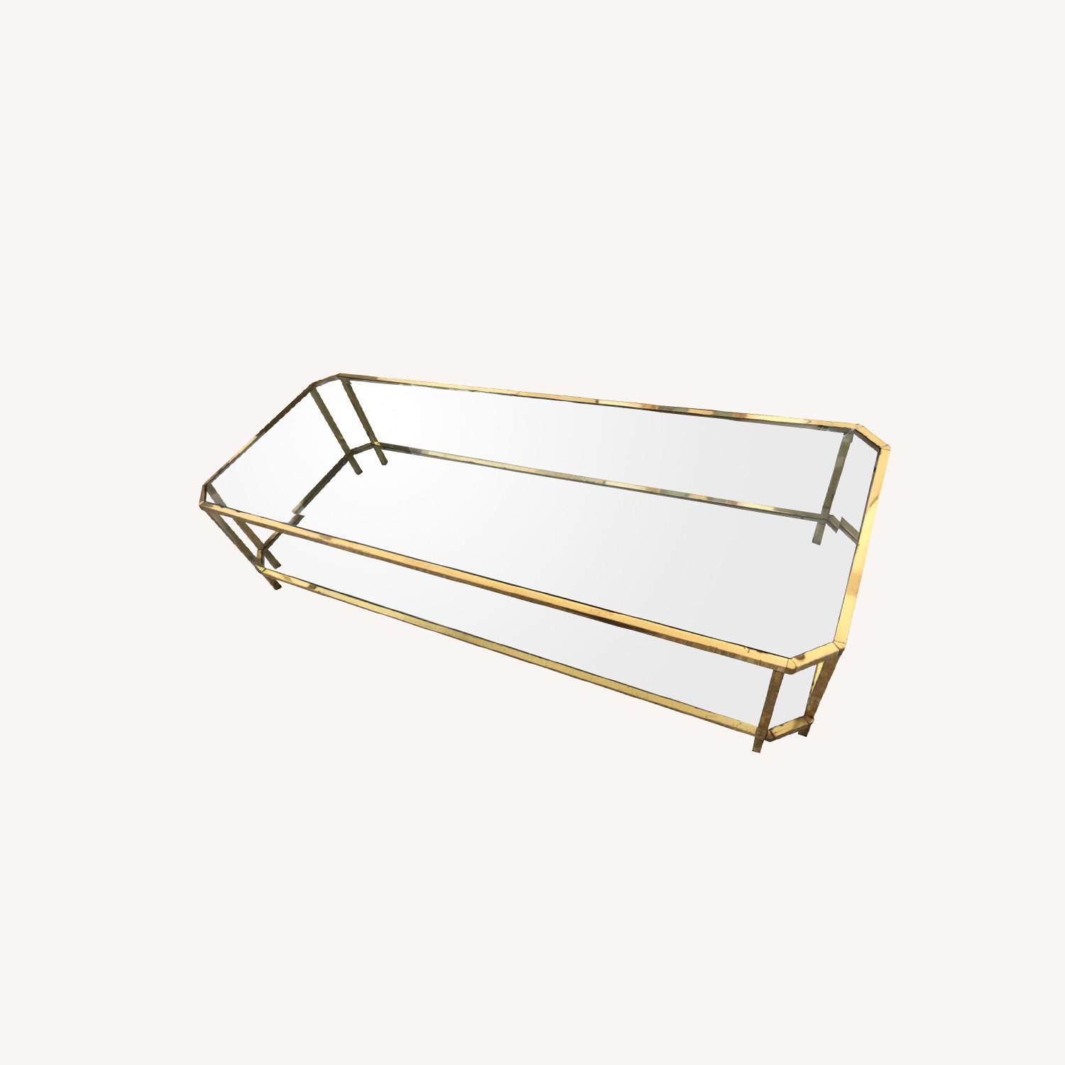 French 1960s Brass & Glass Coffee Table - image-0