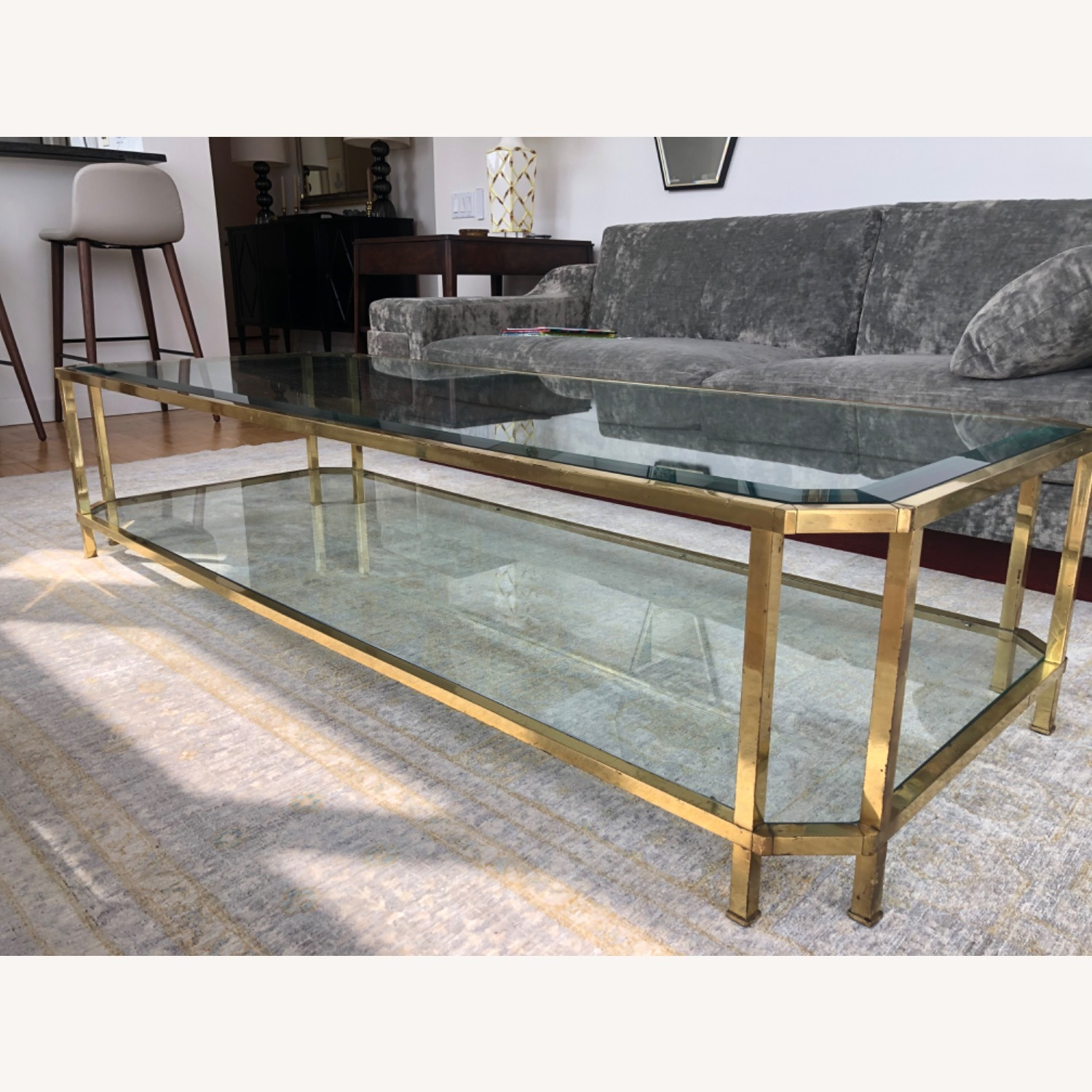 French 1960s Brass & Glass Coffee Table - image-2