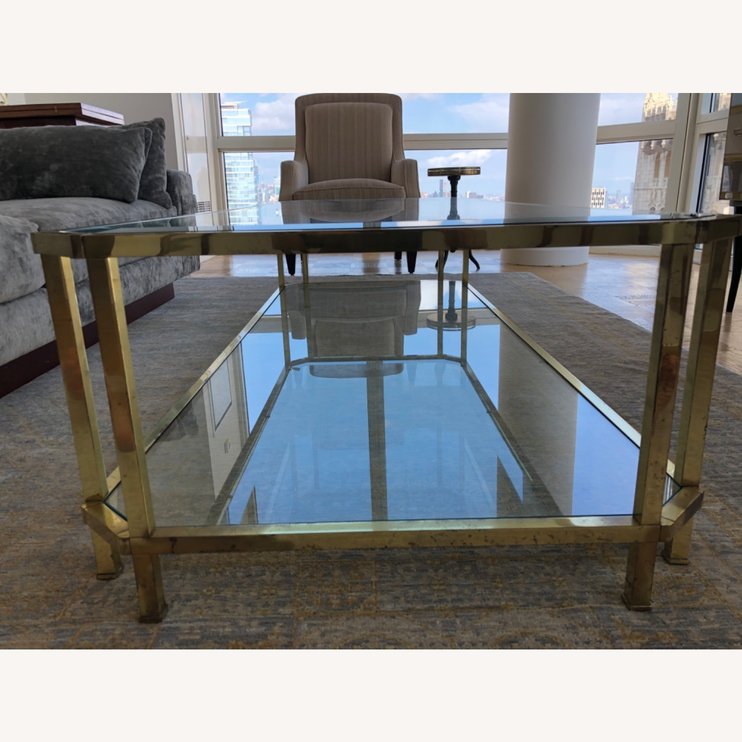 French 1960s Brass & Glass Coffee Table - image-3