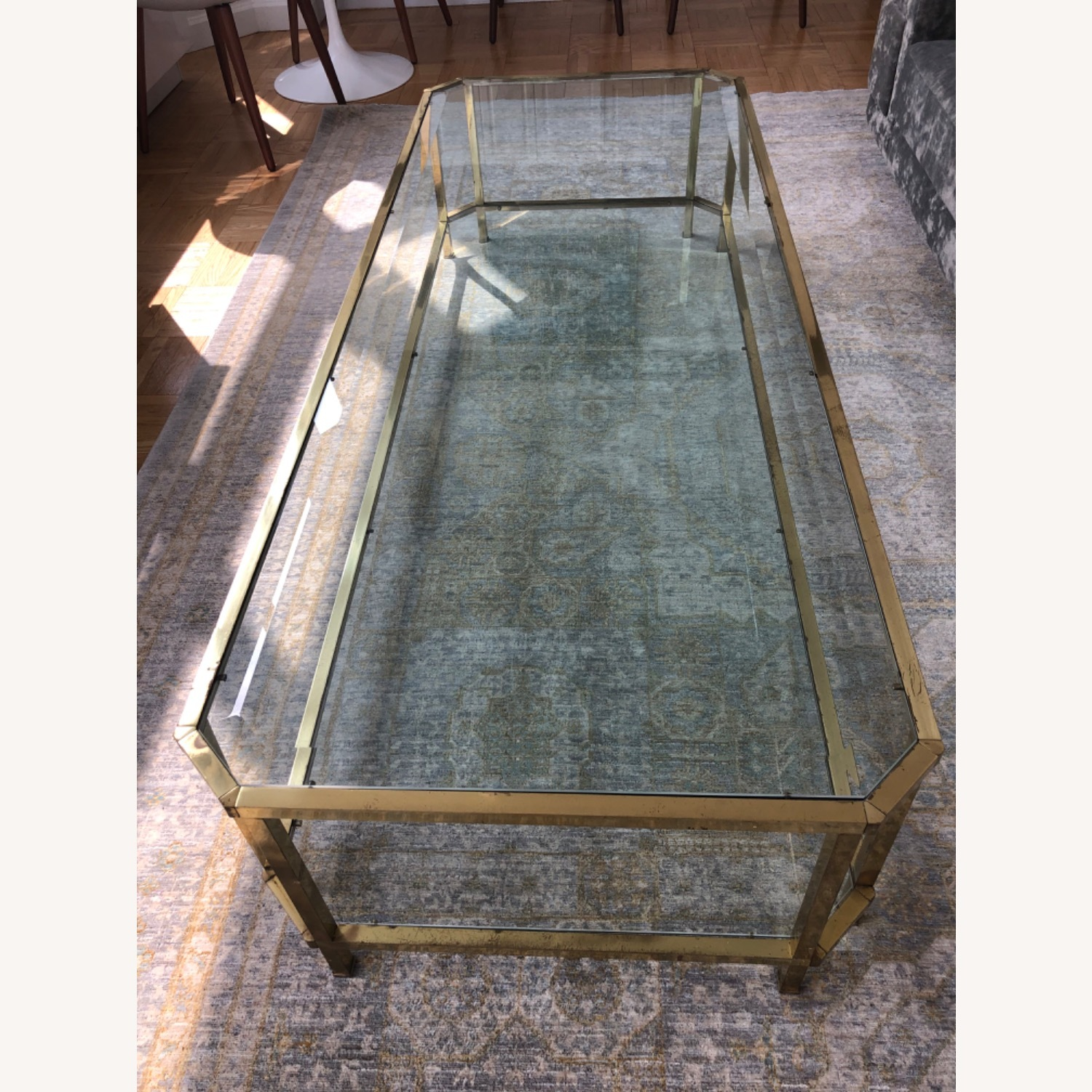 French 1960s Brass & Glass Coffee Table - image-7