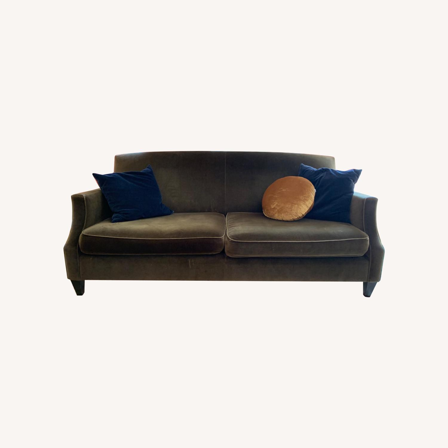 Crate & Barrel Green Velvet Couch - image-0