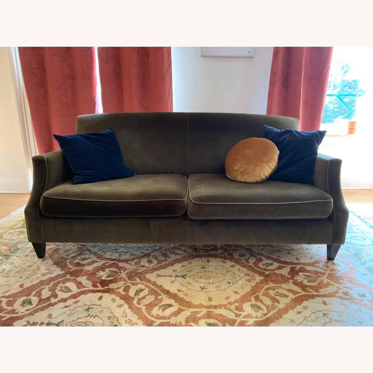 Crate & Barrel Green Velvet Couch - image-1