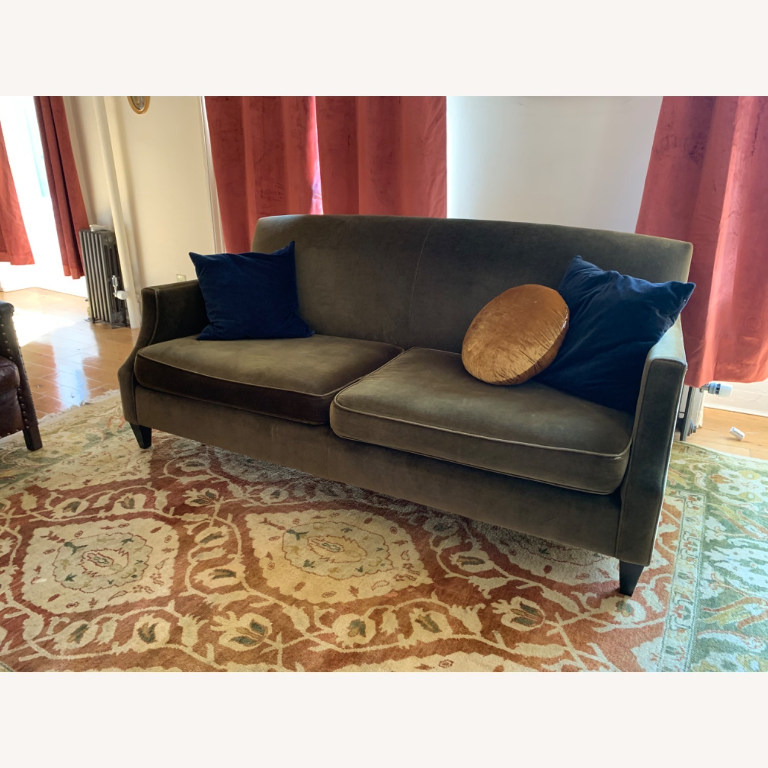 Crate & Barrel Green Velvet Couch - image-2