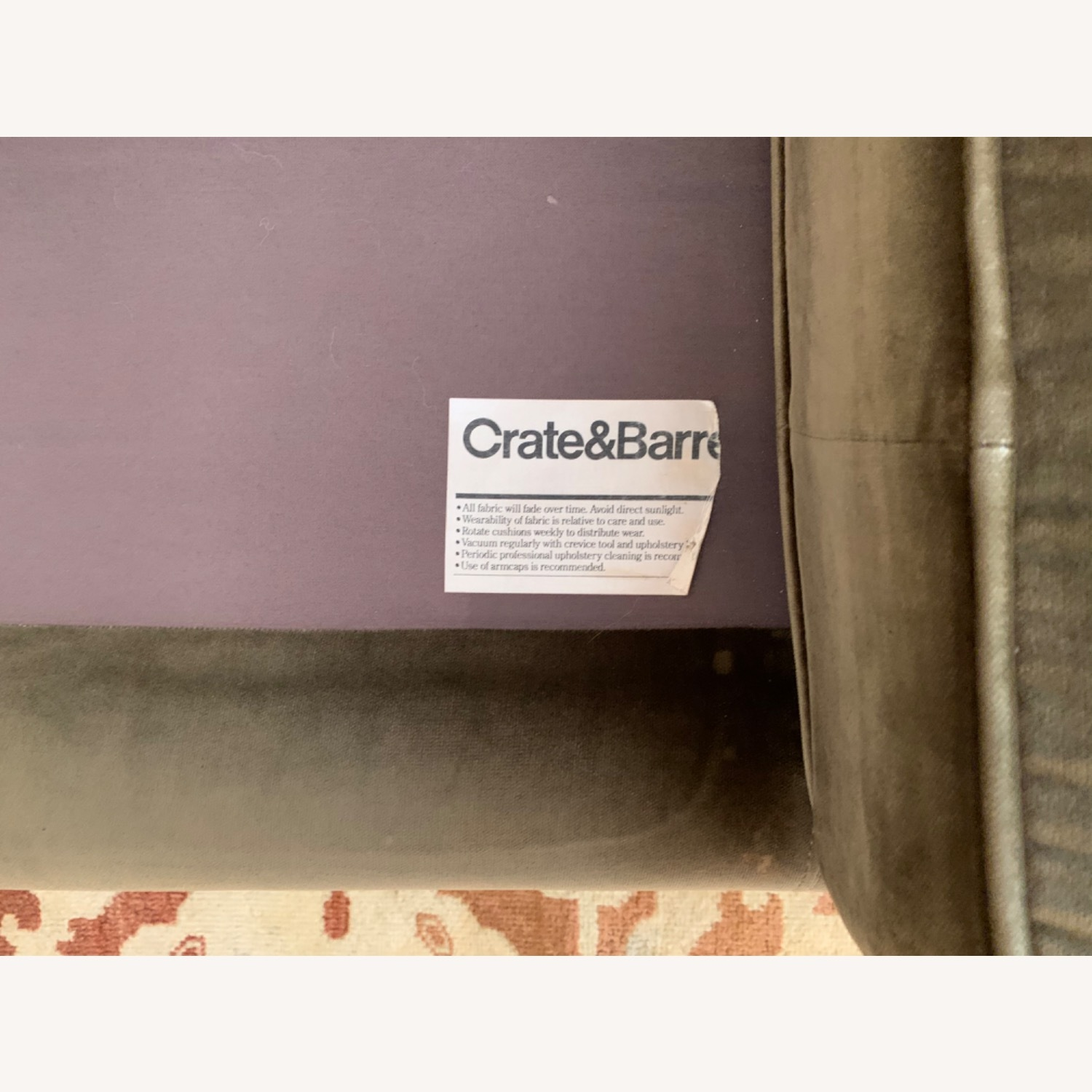Crate & Barrel Green Velvet Couch - image-6