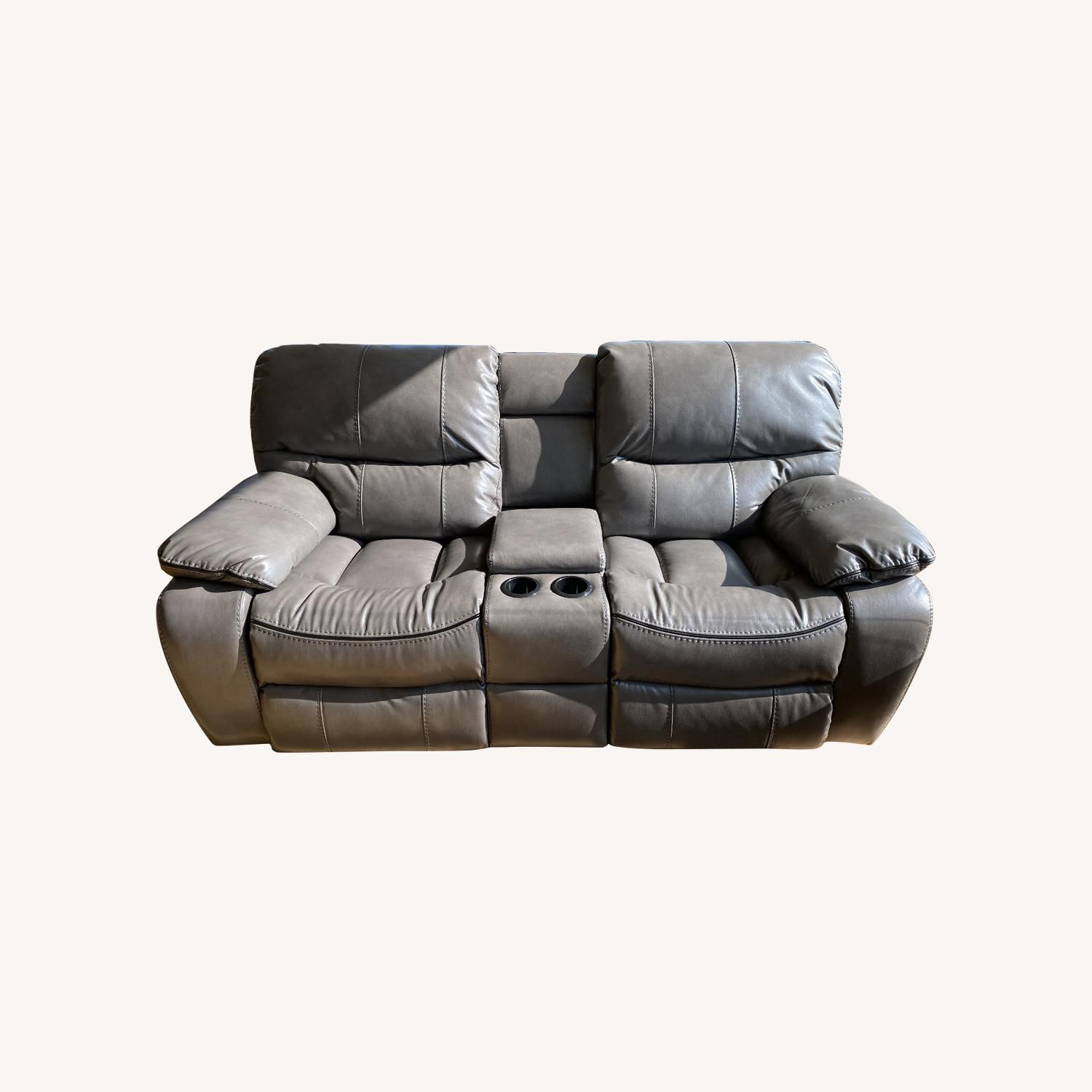 Grey Leather Recliner Sofa - image-0