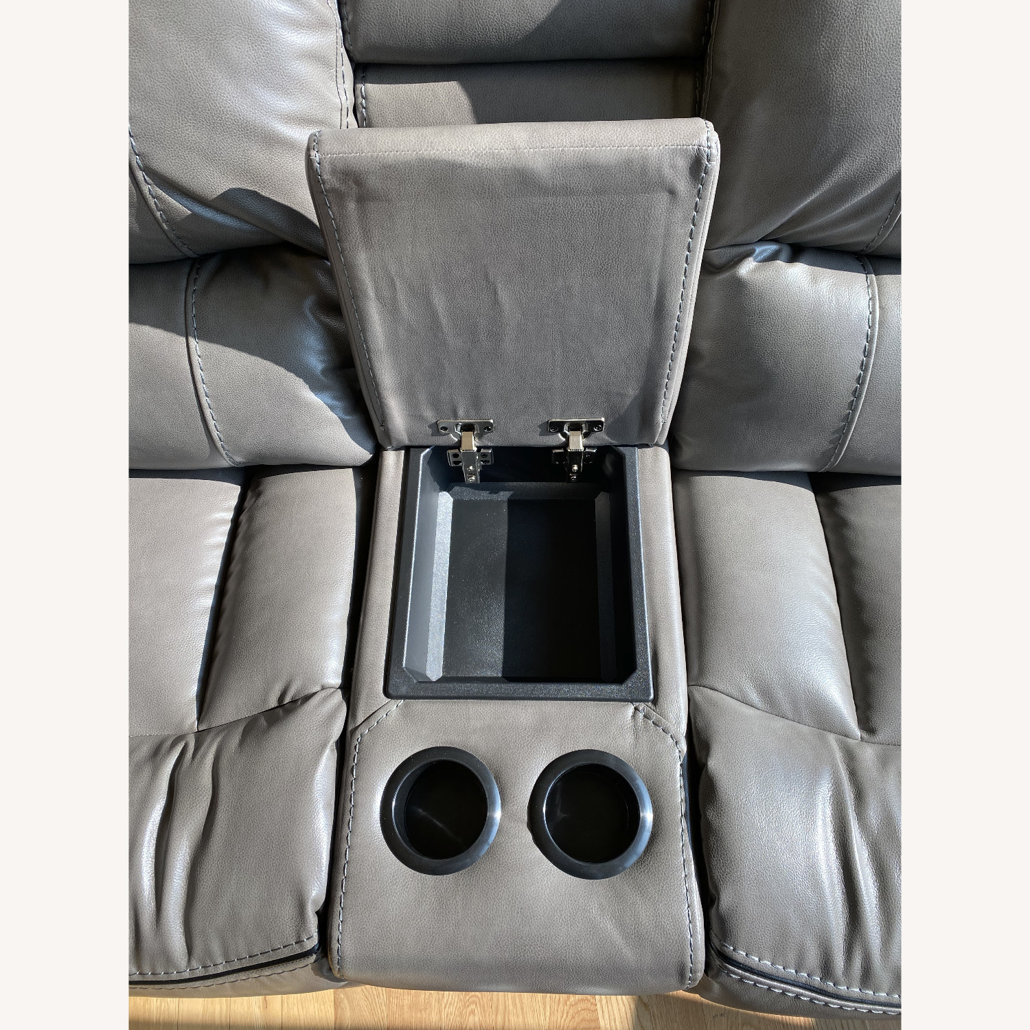 Grey Leather Recliner Sofa - image-5