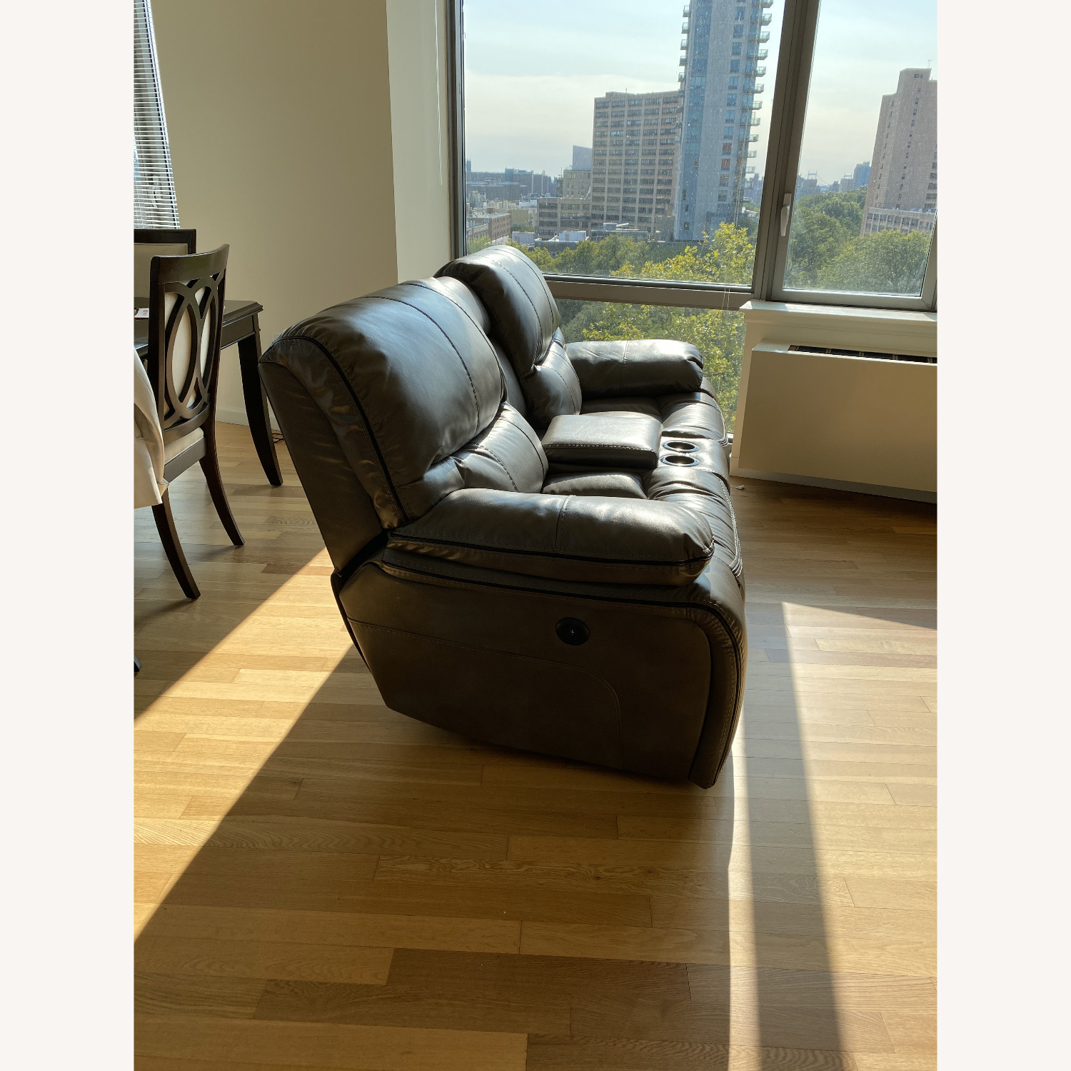 Grey Leather Recliner Sofa - image-3