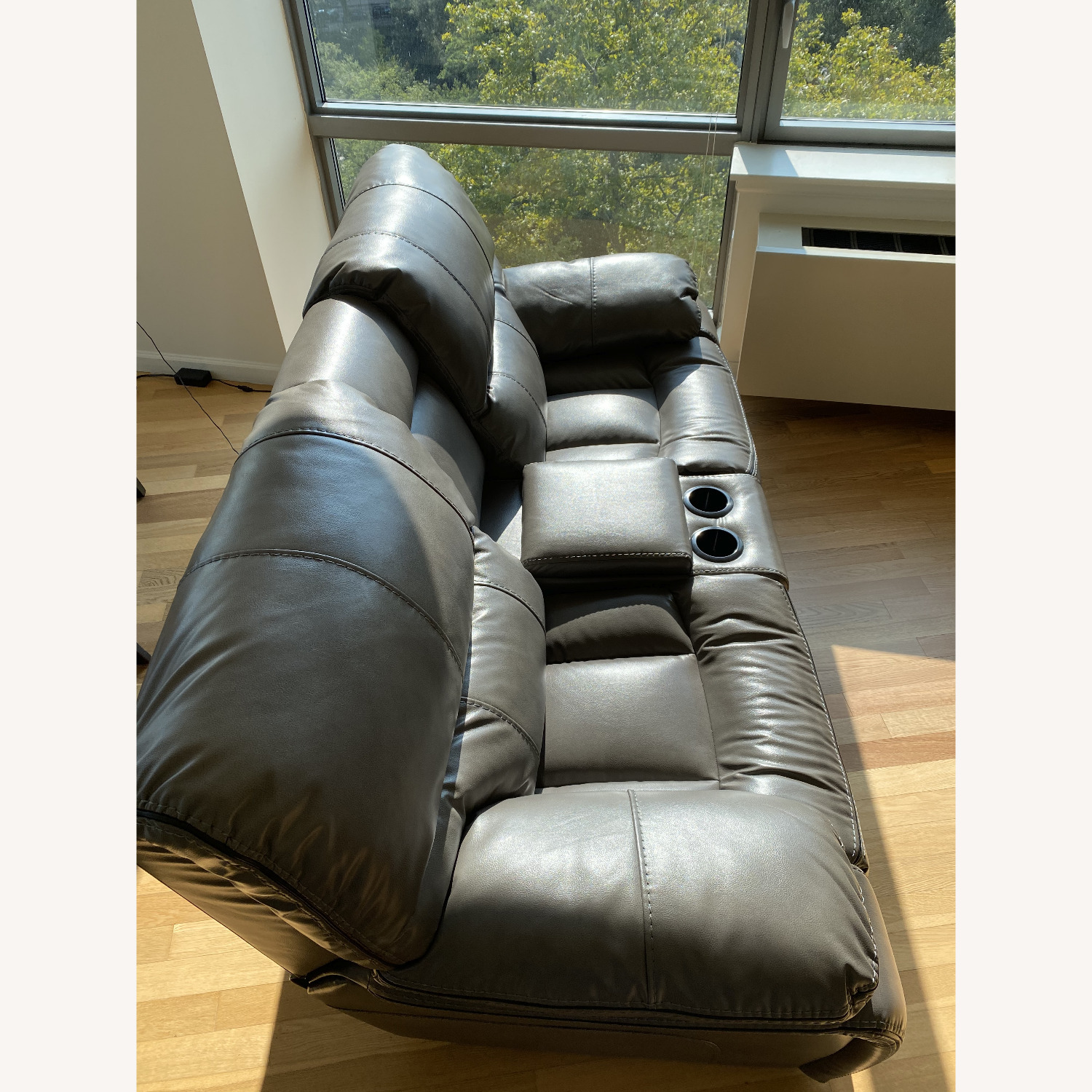 Grey Leather Recliner Sofa - image-2