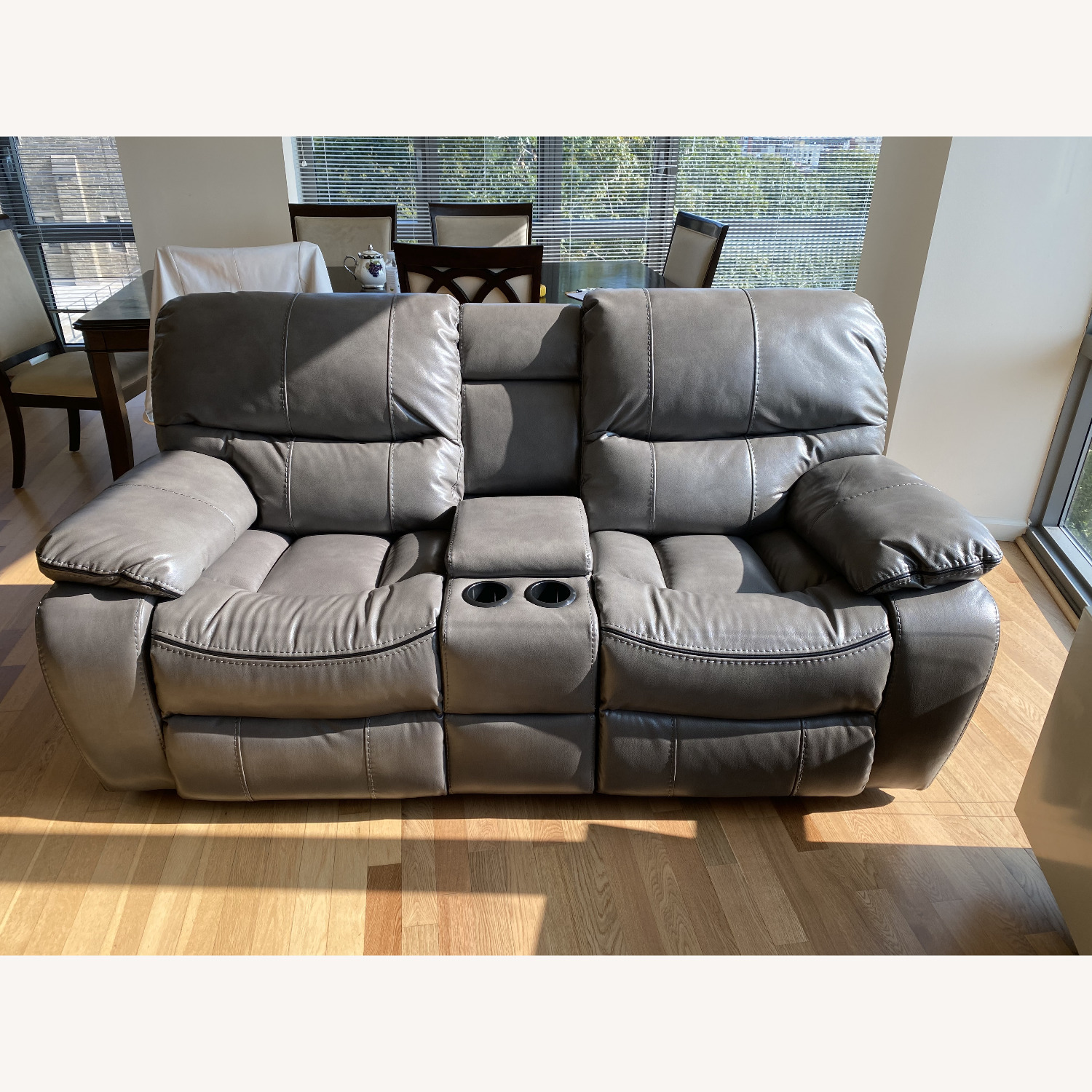 Grey Leather Recliner Sofa - image-1
