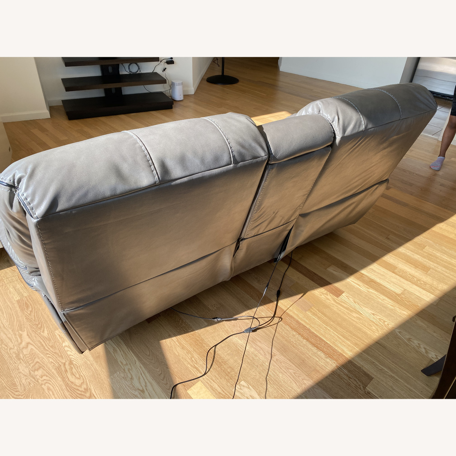 Grey Leather Recliner Sofa - image-4