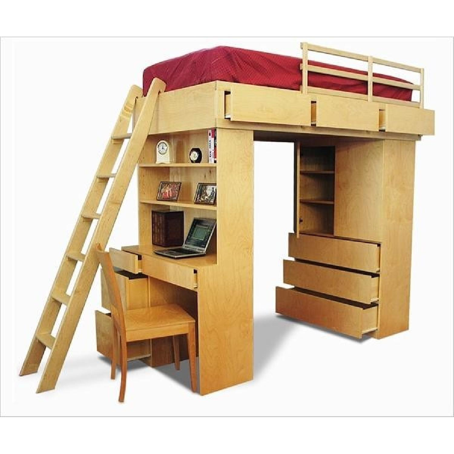Gothic Cabinet Craft Loft Bed with Desk and Dresser - image-1