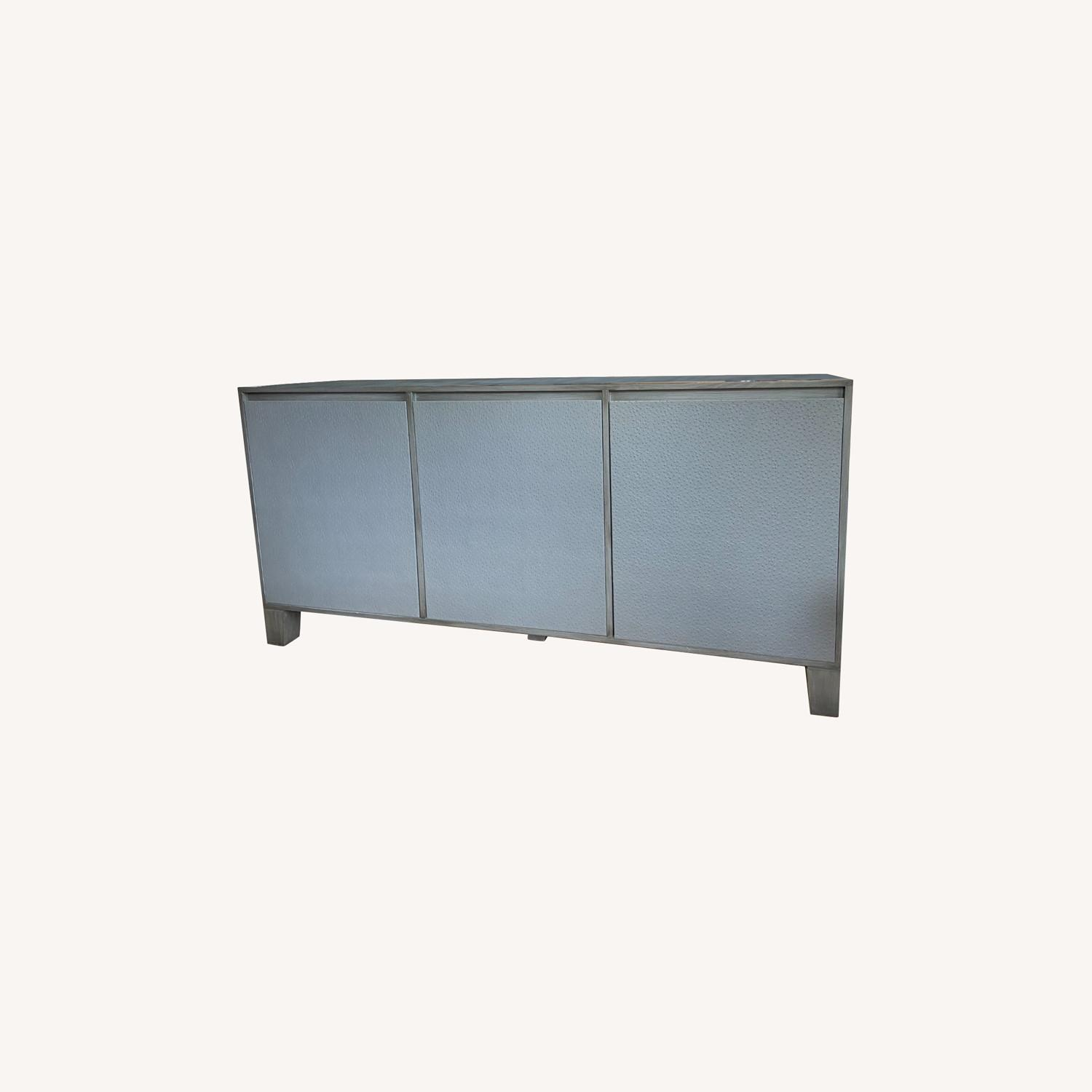 Grey Leather Covered Credenza / Sideboard - image-0