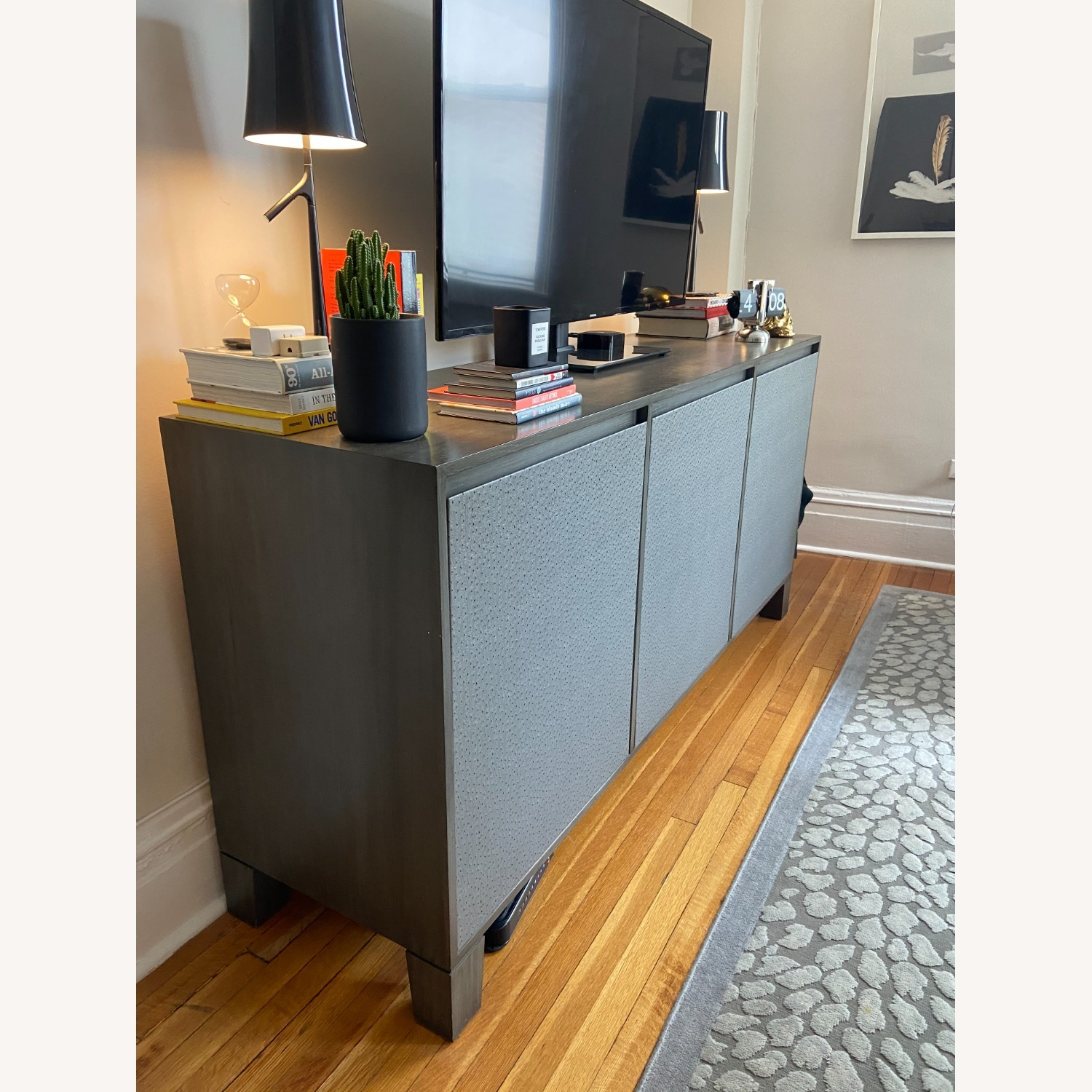 Grey Leather Covered Credenza / Sideboard - image-2
