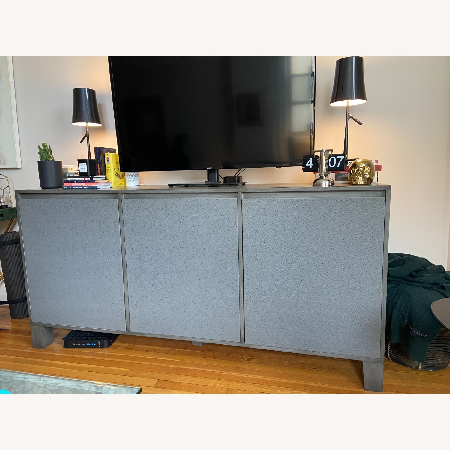 Grey Leather Covered Credenza / Sideboard - image-1