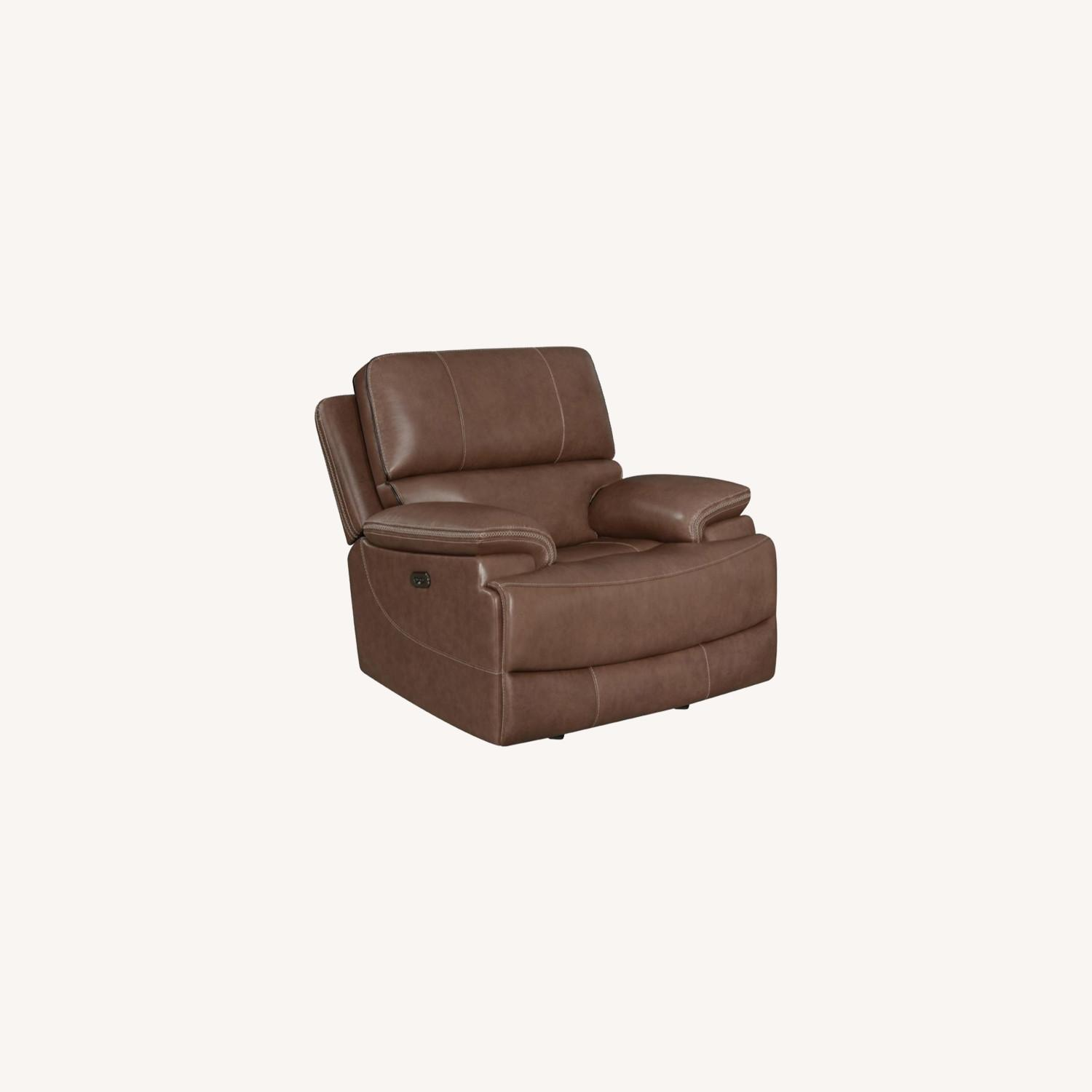 Power Recliner In Saddle Brown Leather - image-7