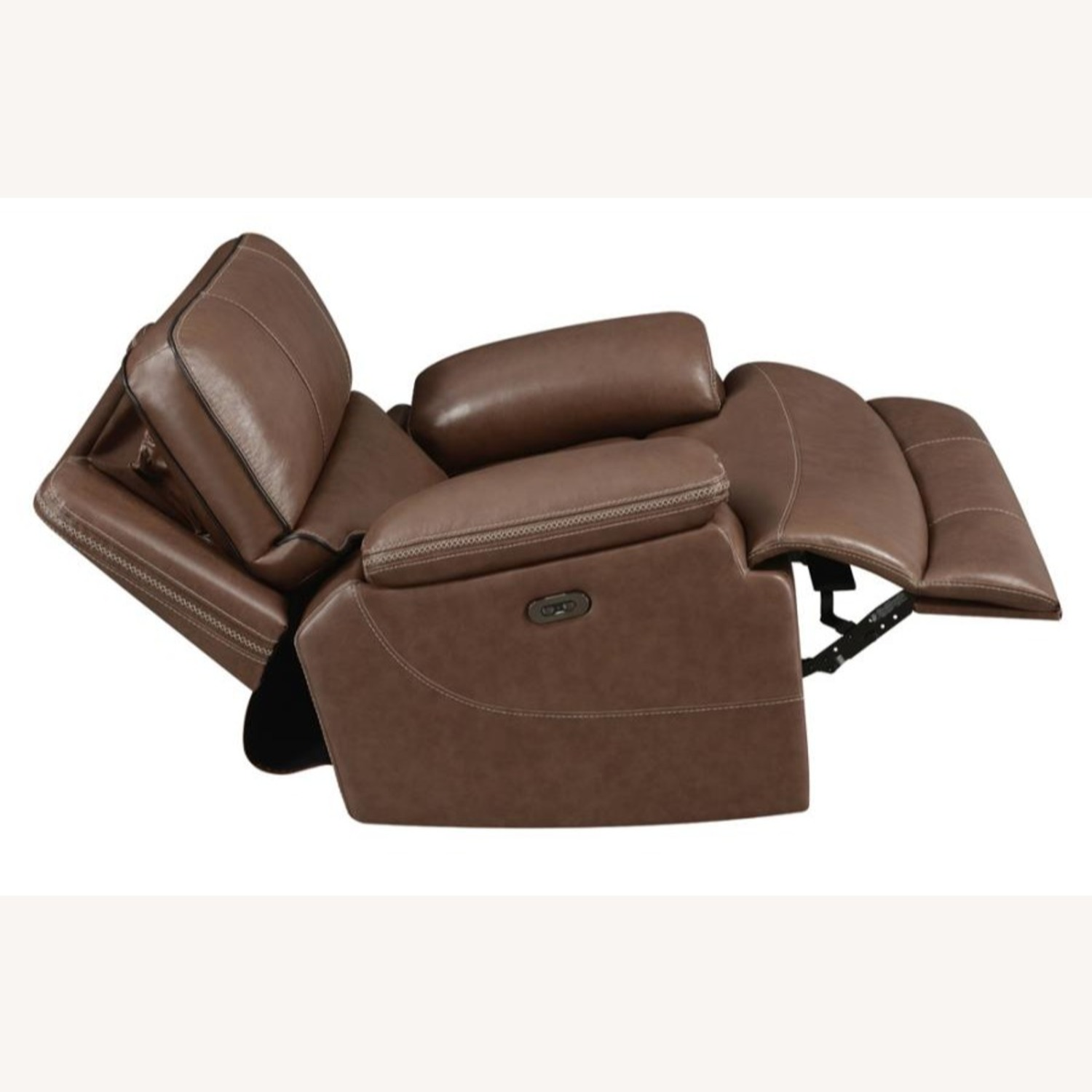 Power Recliner In Saddle Brown Leather - image-4