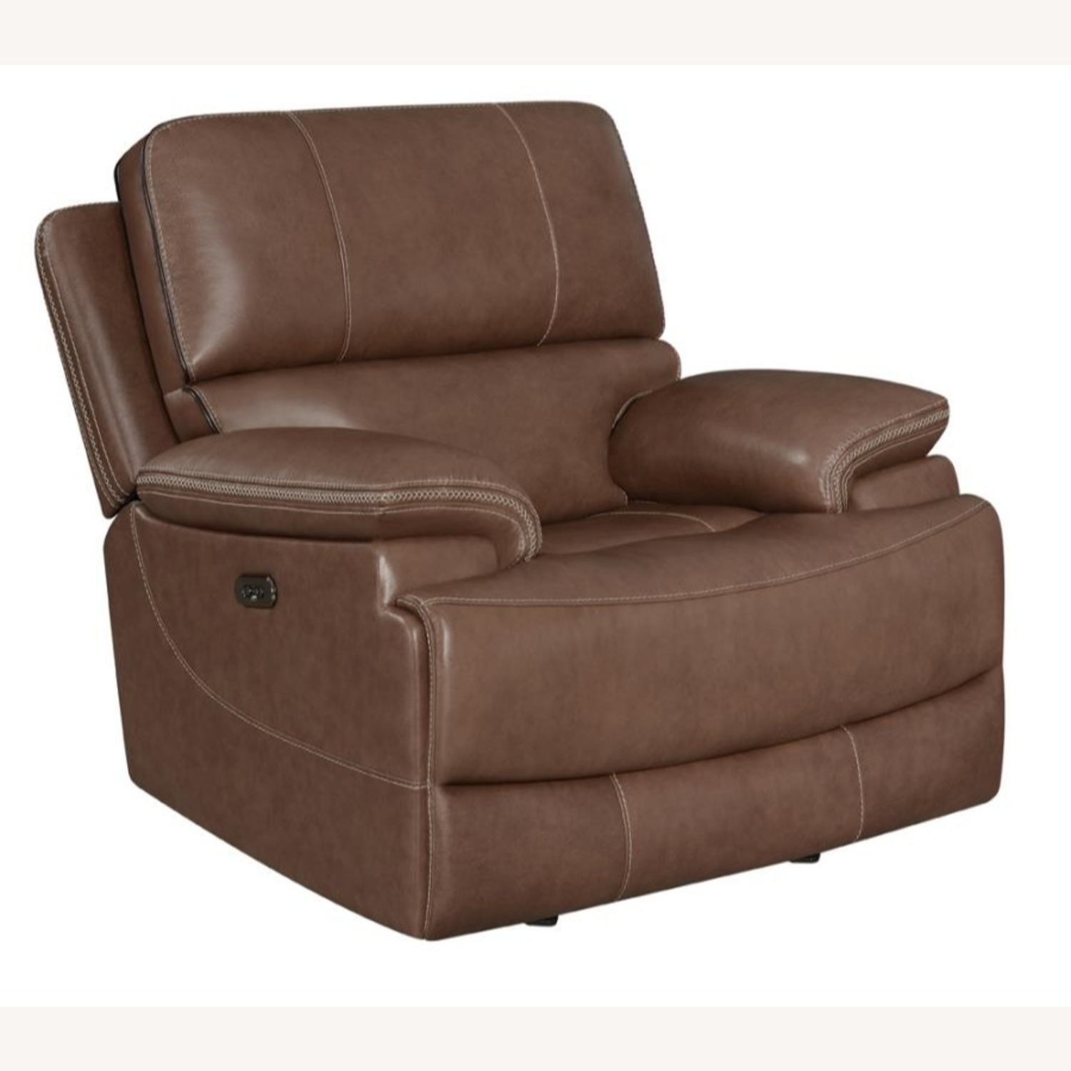 Power Recliner In Saddle Brown Leather - image-0