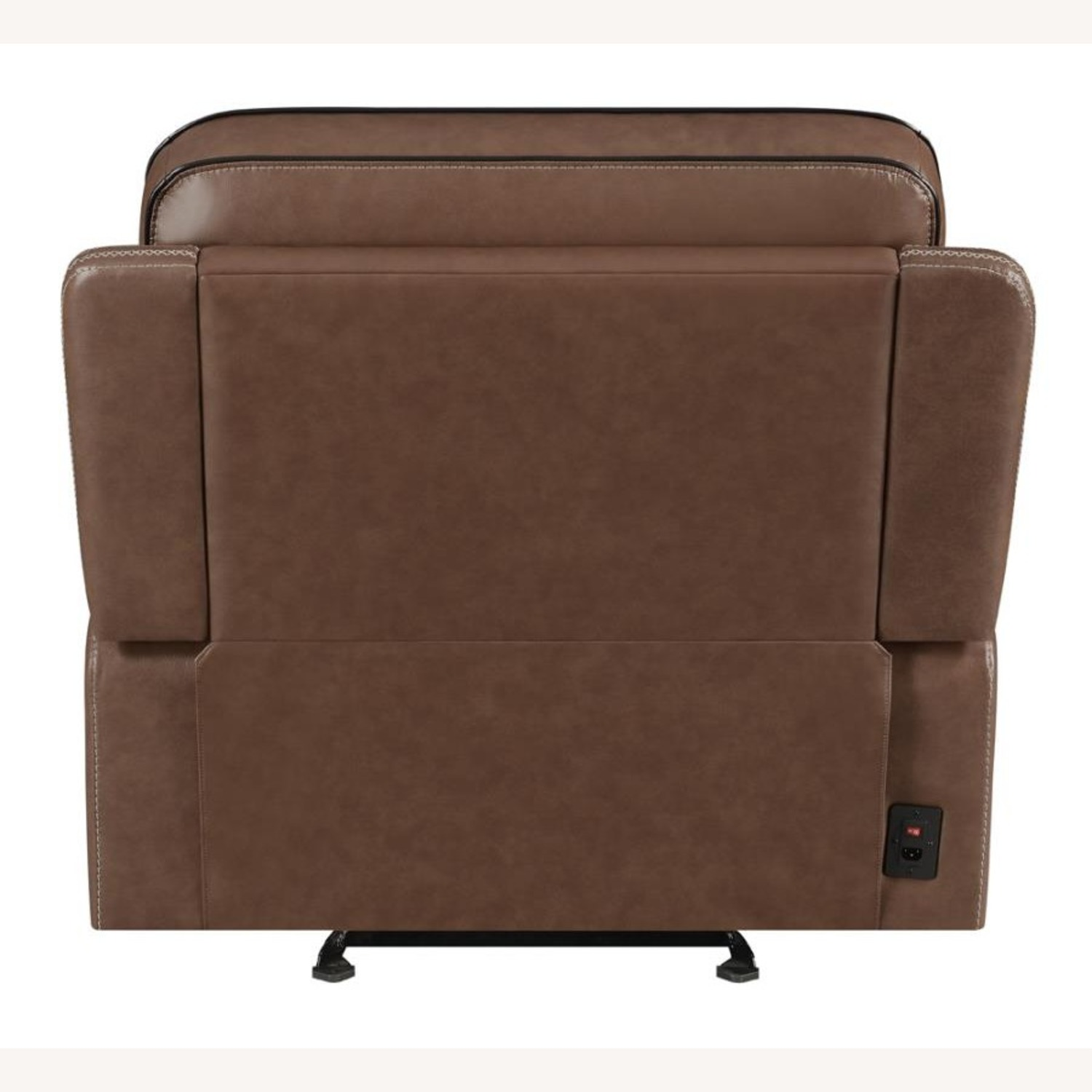 Power Recliner In Saddle Brown Leather - image-3
