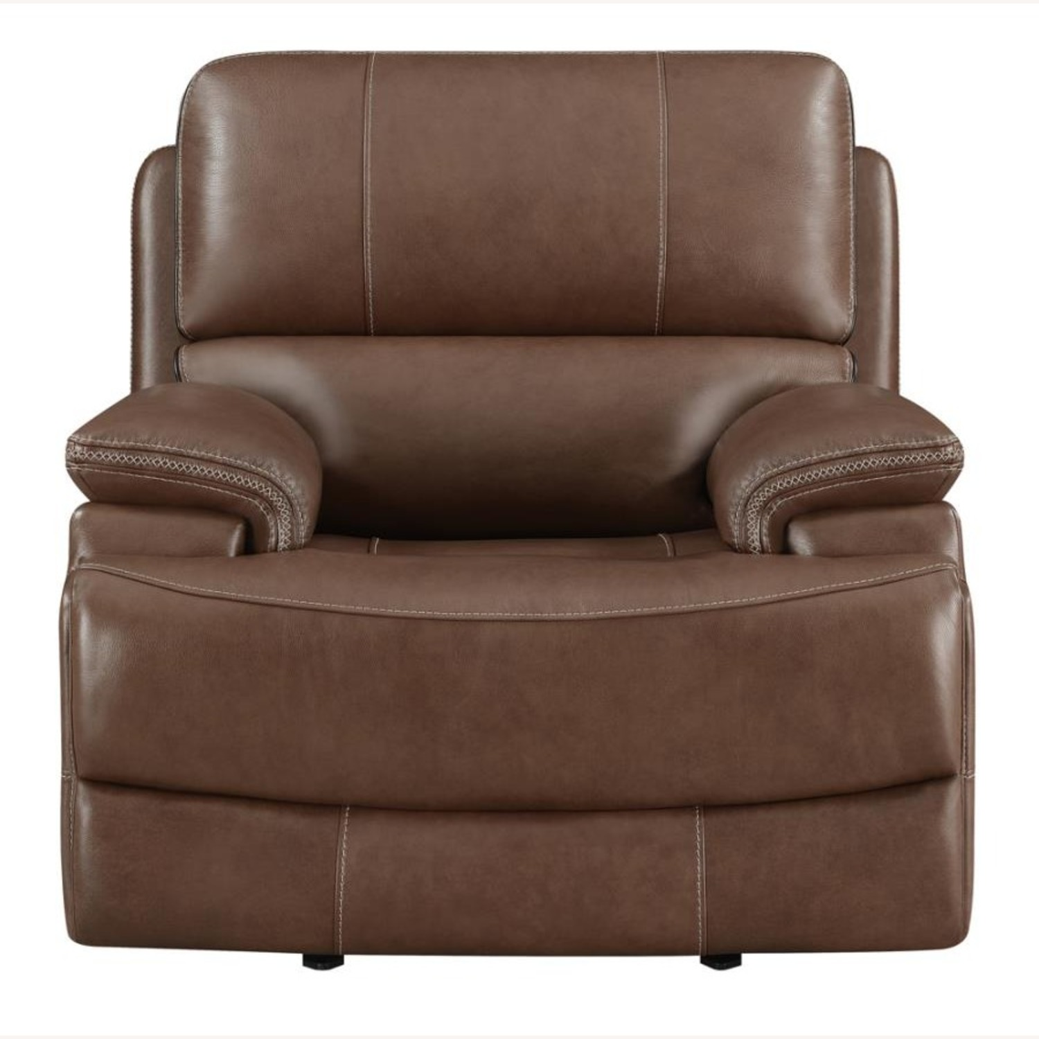 Power Recliner In Saddle Brown Leather - image-2
