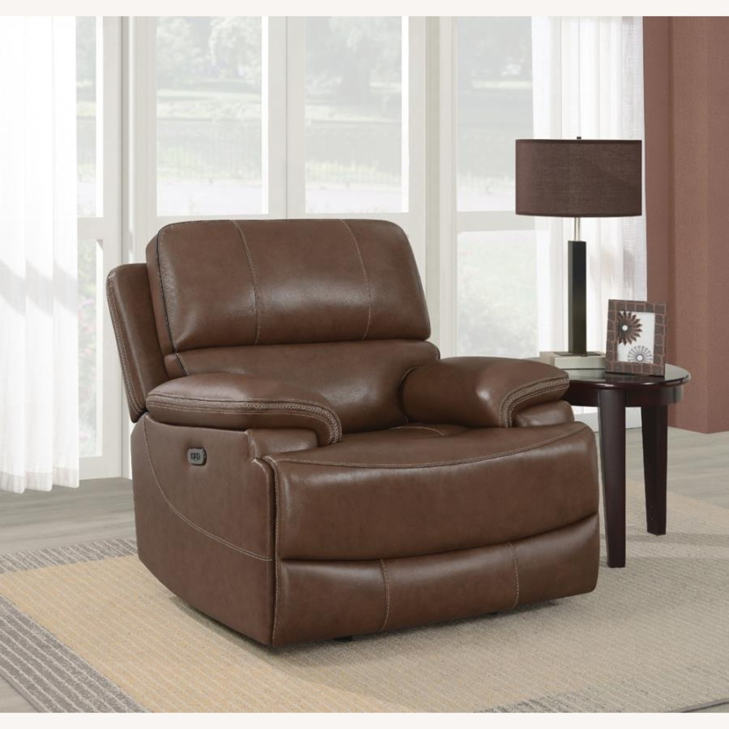 Power Recliner In Saddle Brown Leather - image-6