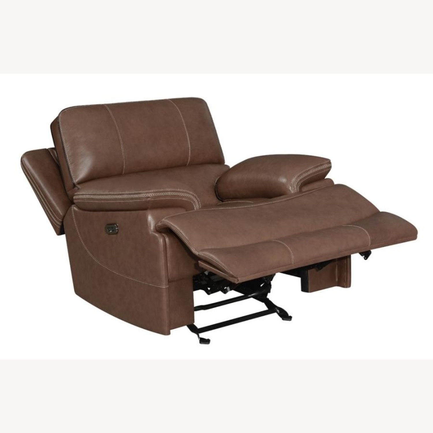 Power Recliner In Saddle Brown Leather - image-1
