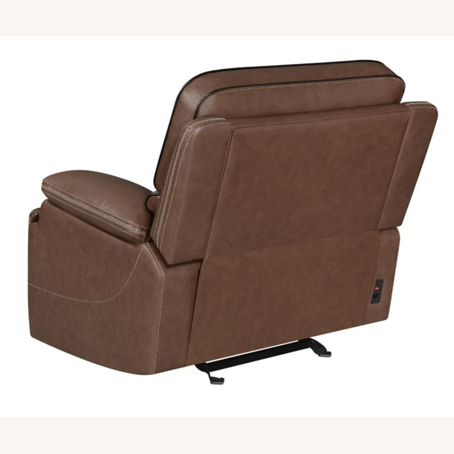 Power Recliner In Saddle Brown Leather - image-5