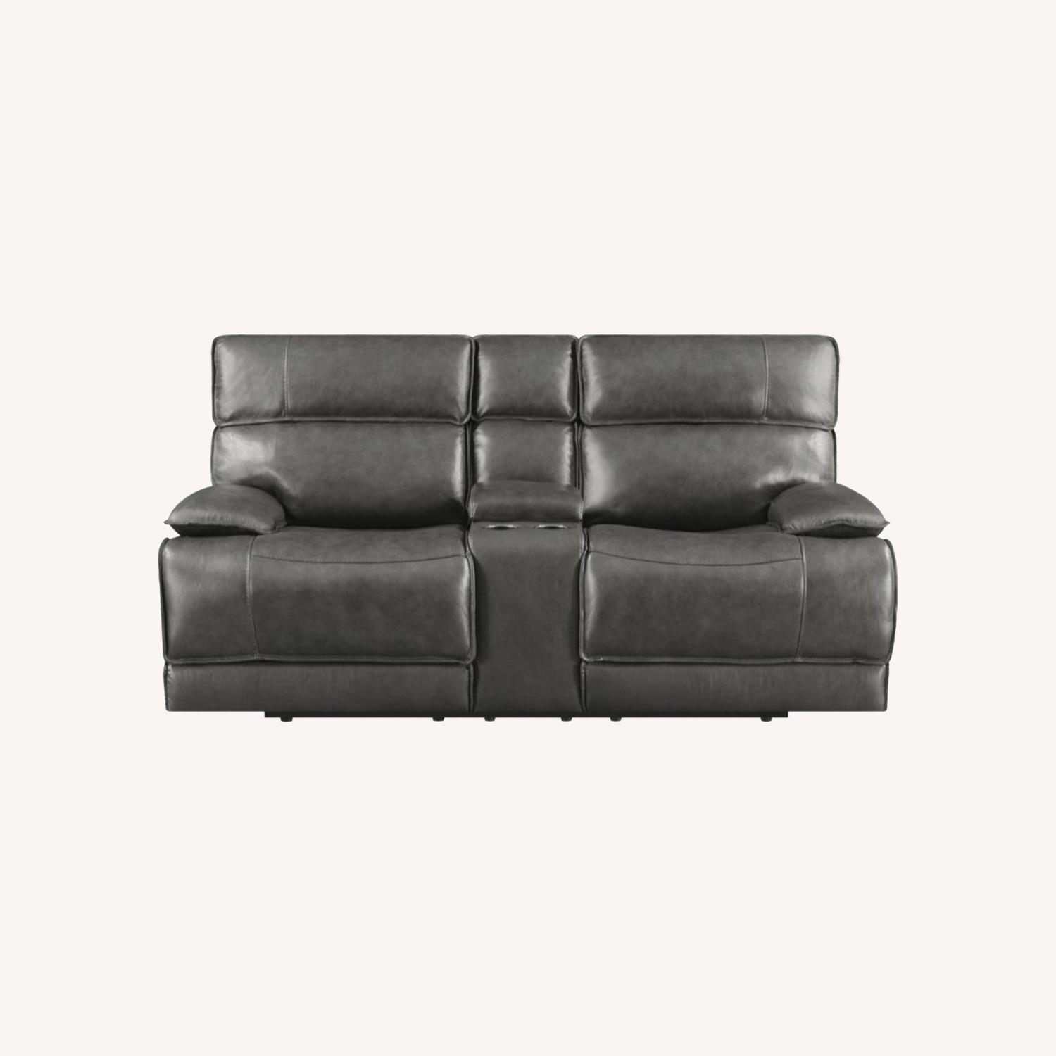 Power Recline Loveseat In Charcoal Leather - image-11