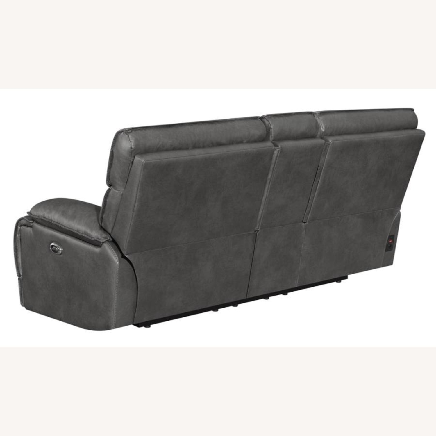 Power Recline Loveseat In Charcoal Leather - image-4