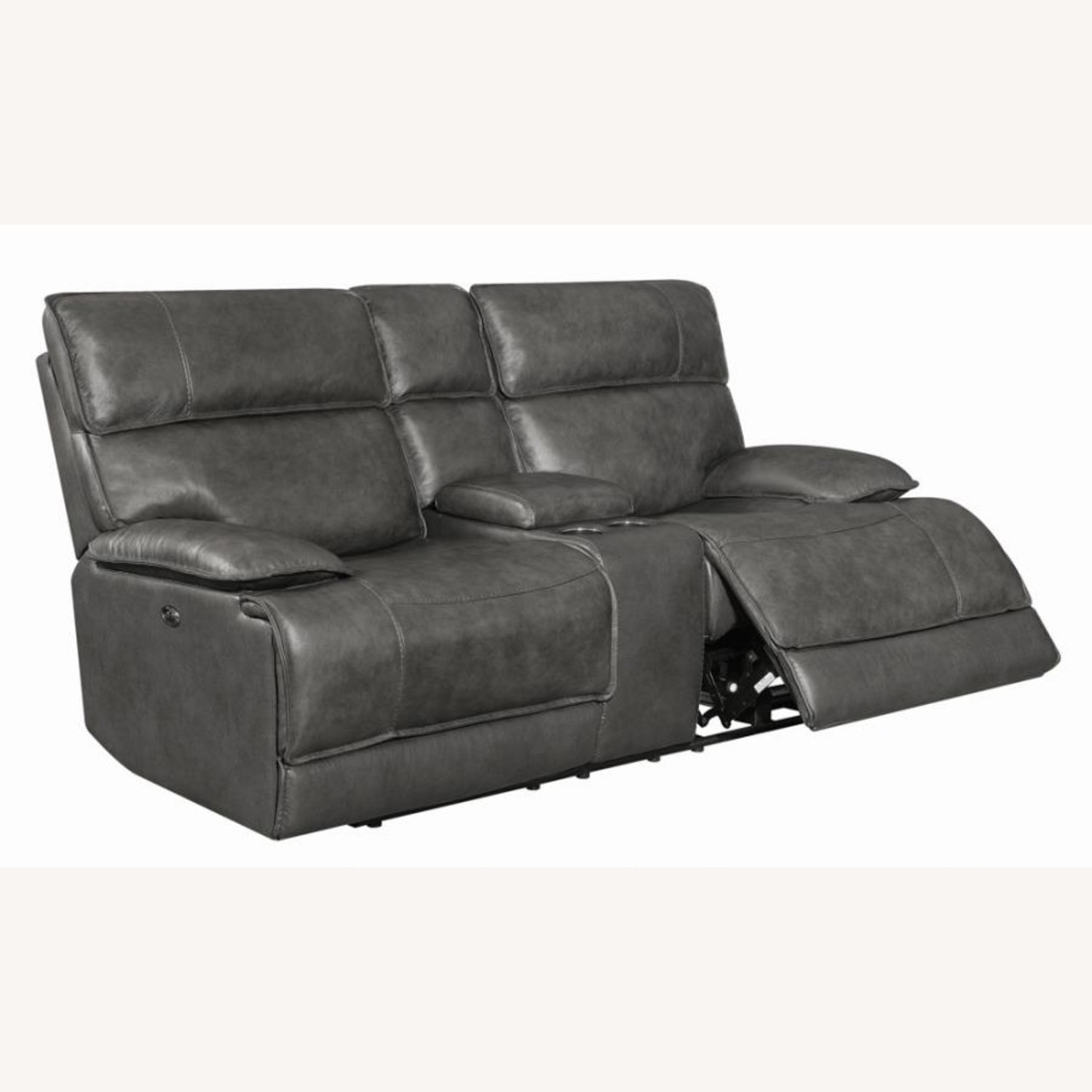 Power Recline Loveseat In Charcoal Leather - image-1