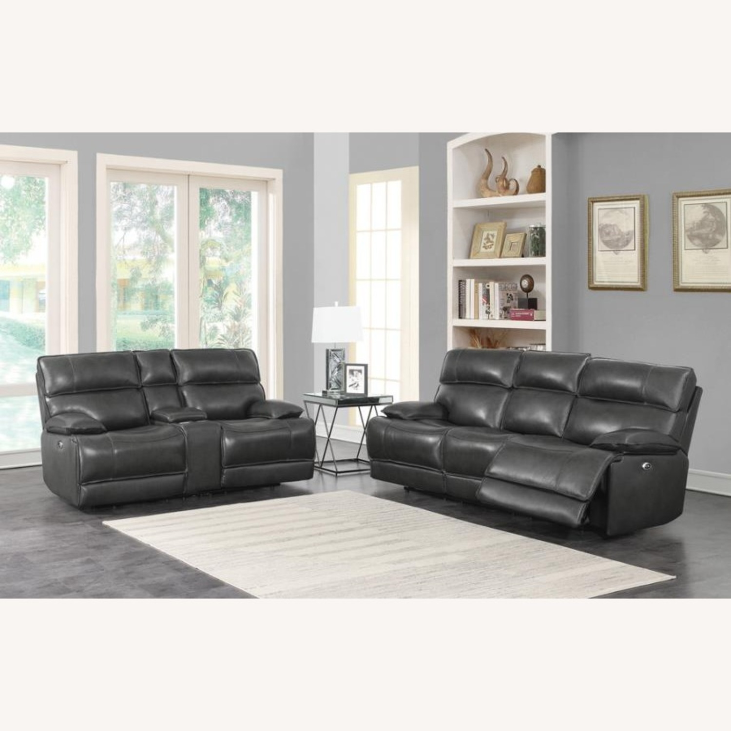Power Recline Loveseat In Charcoal Leather - image-10