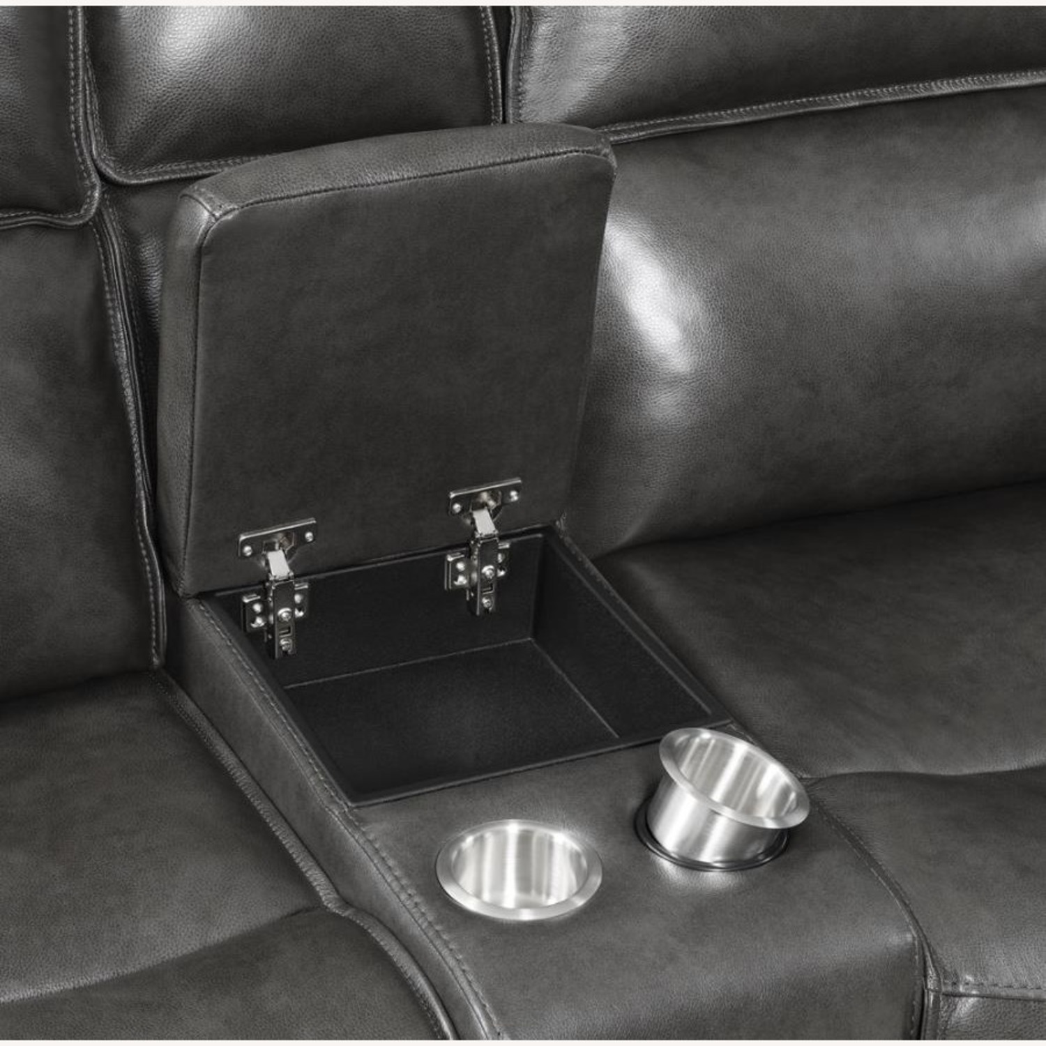 Power Recline Loveseat In Charcoal Leather - image-9