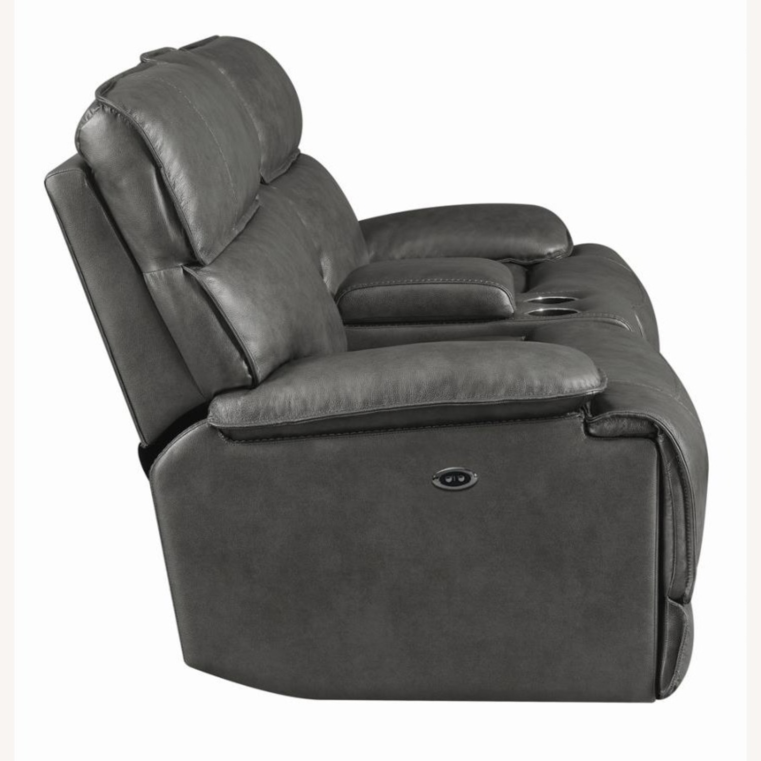 Power Recline Loveseat In Charcoal Leather - image-3