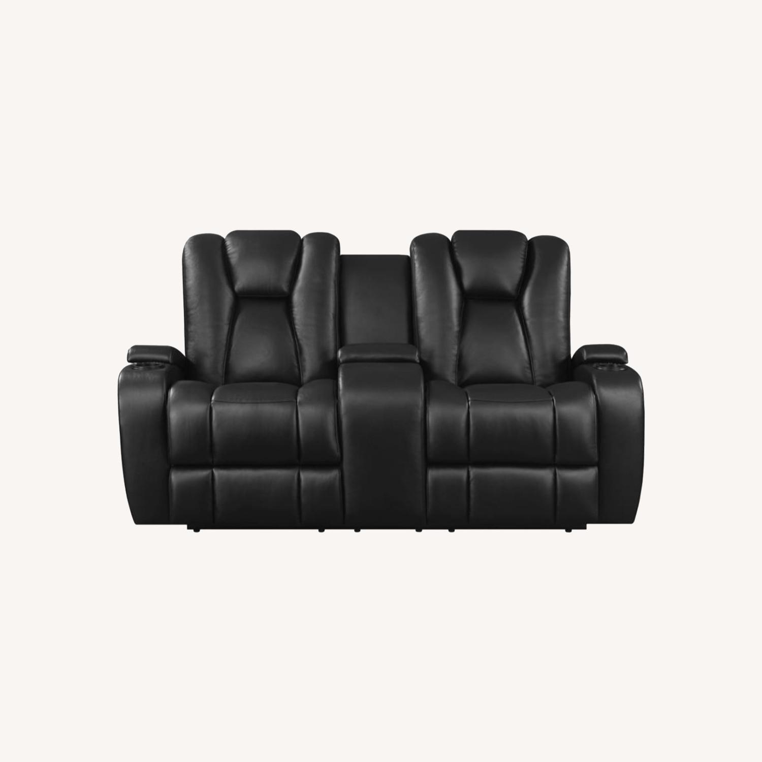 Power Loveseat In Black Performance Leather - image-9