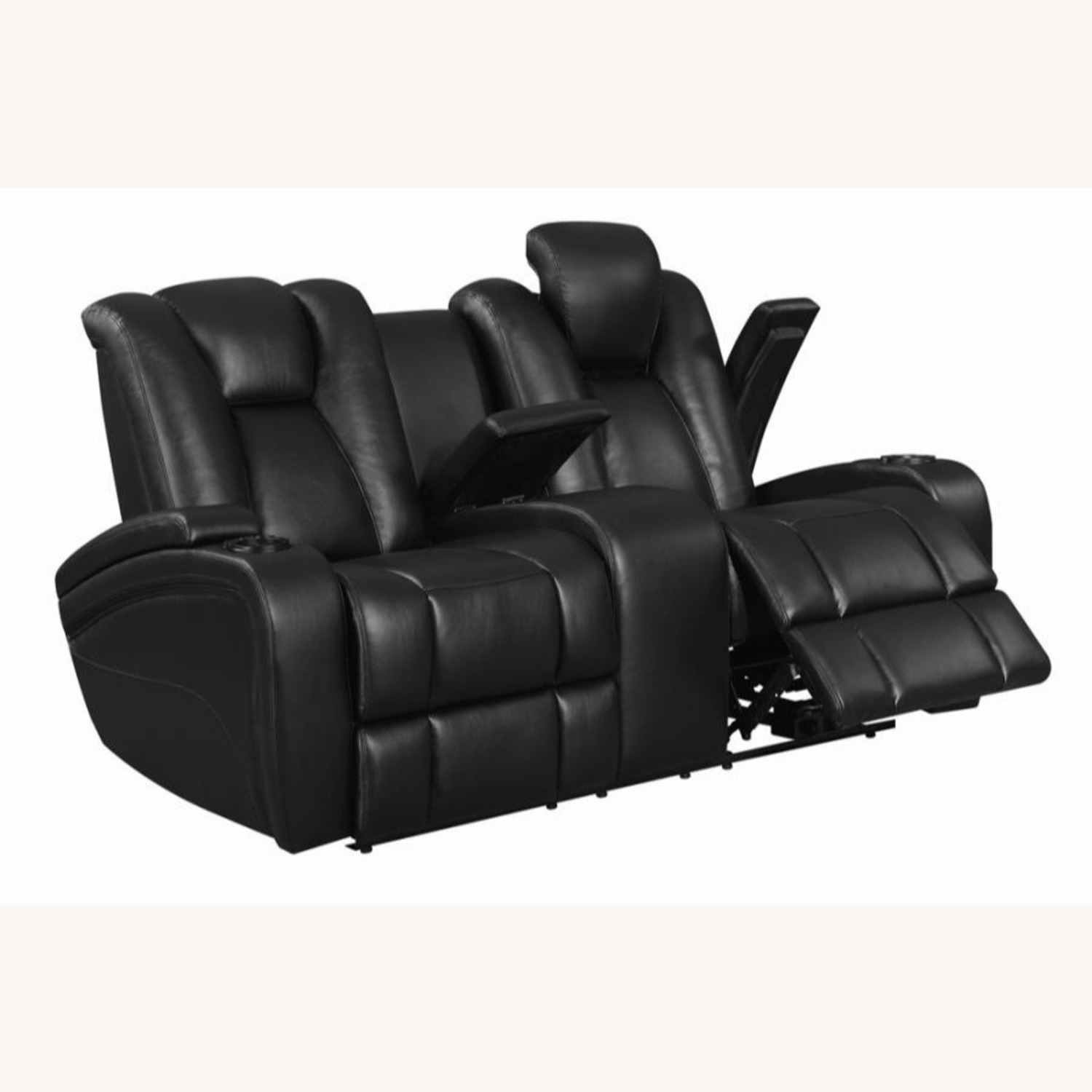 Power Loveseat In Black Performance Leather - image-1