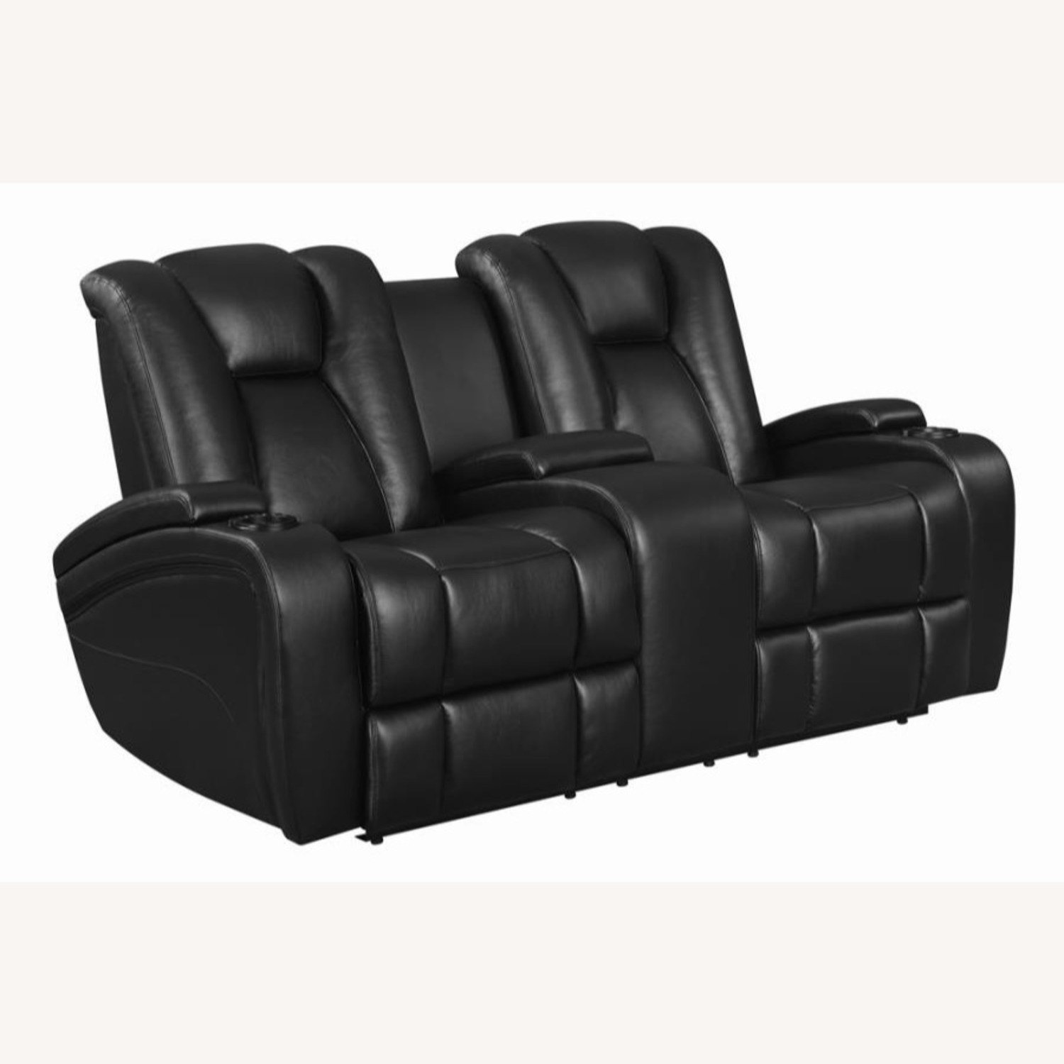 Power Loveseat In Black Performance Leather - image-0