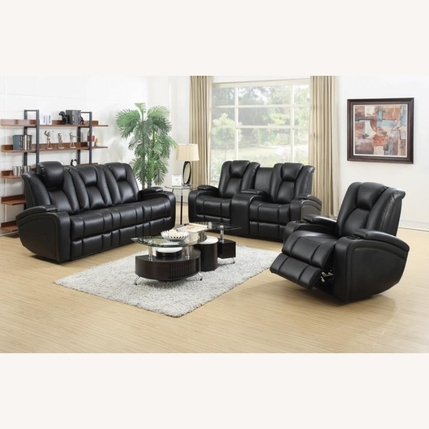 Power Loveseat In Black Performance Leather - image-8