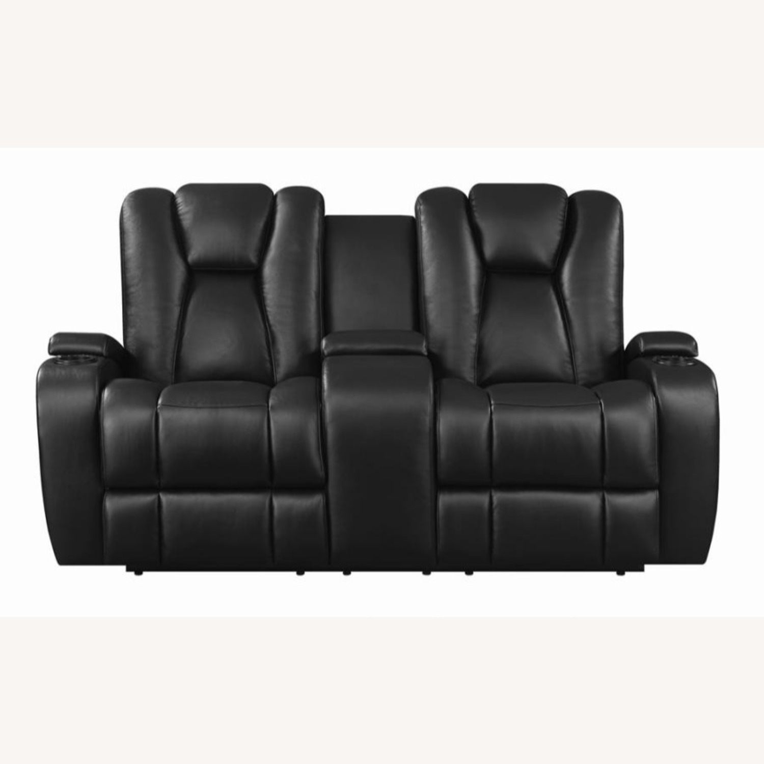 Power Loveseat In Black Performance Leather - image-2