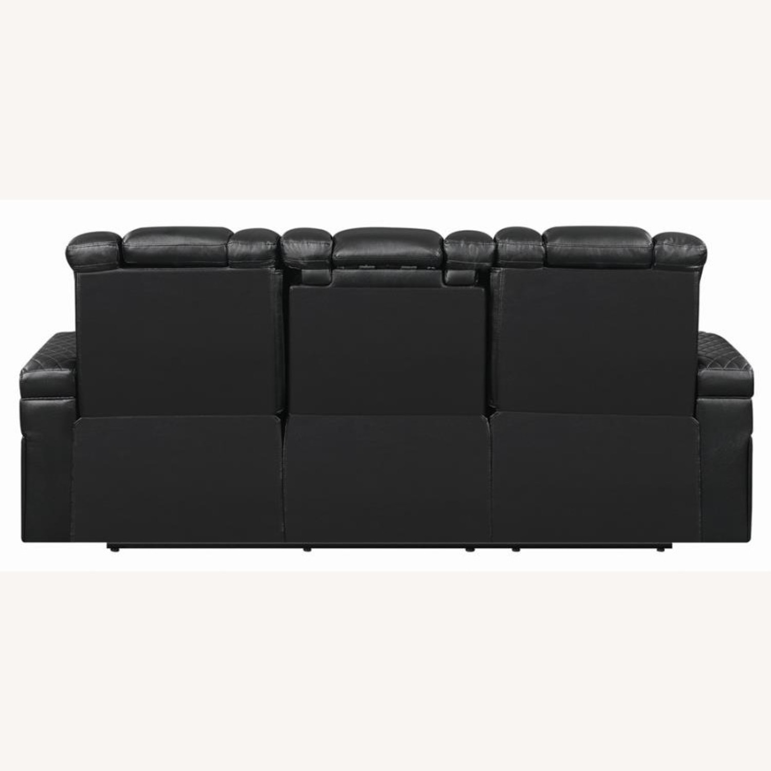 Power Sofa In Black Leather W/ LED Cupholder - image-3